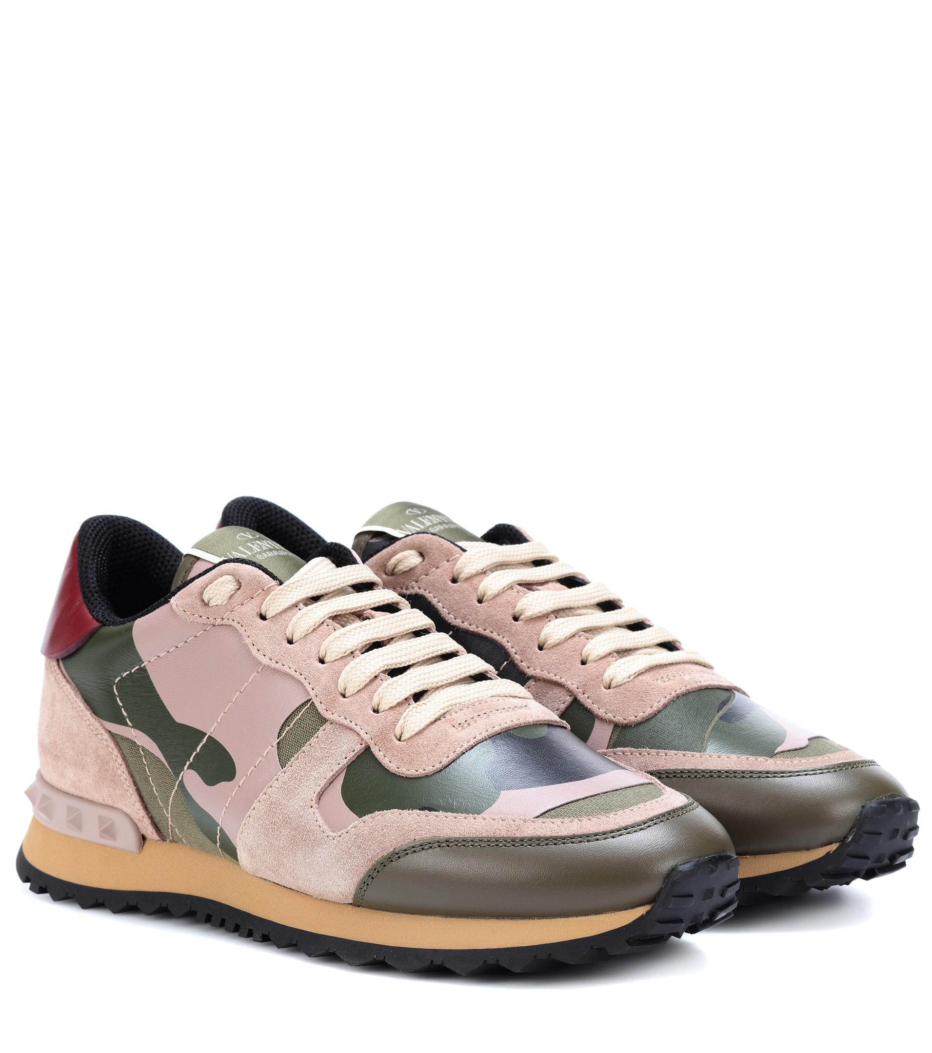 c9f837aaccc77 Valentino Rockrunner Mixed-material Camouflage Sneakers in Green ...
