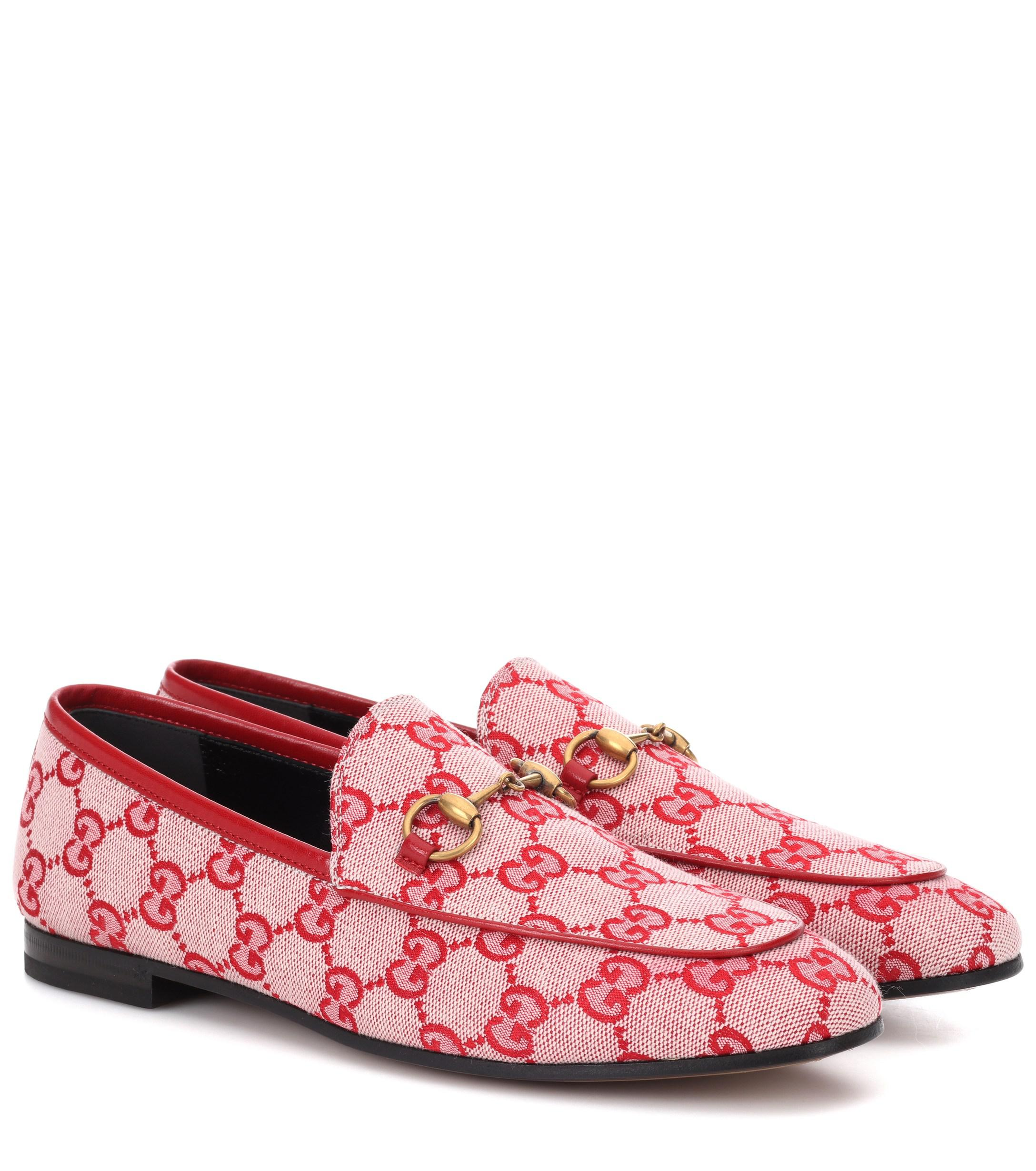 9e44a7e8842 Lyst - Gucci Jordaan GG Canvas Loafers in Red