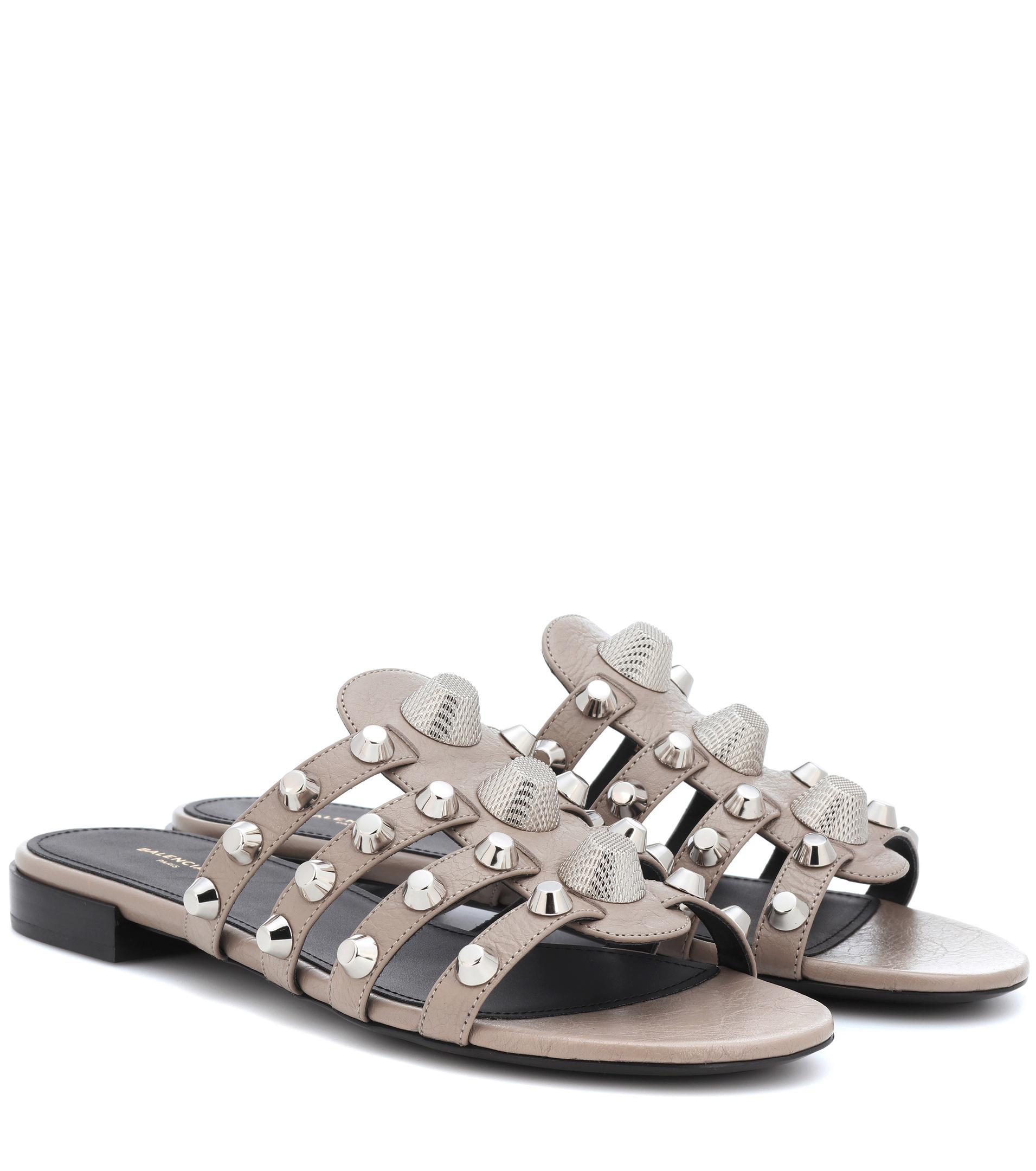 Balenciaga Sandals leather bronze metallic rivets