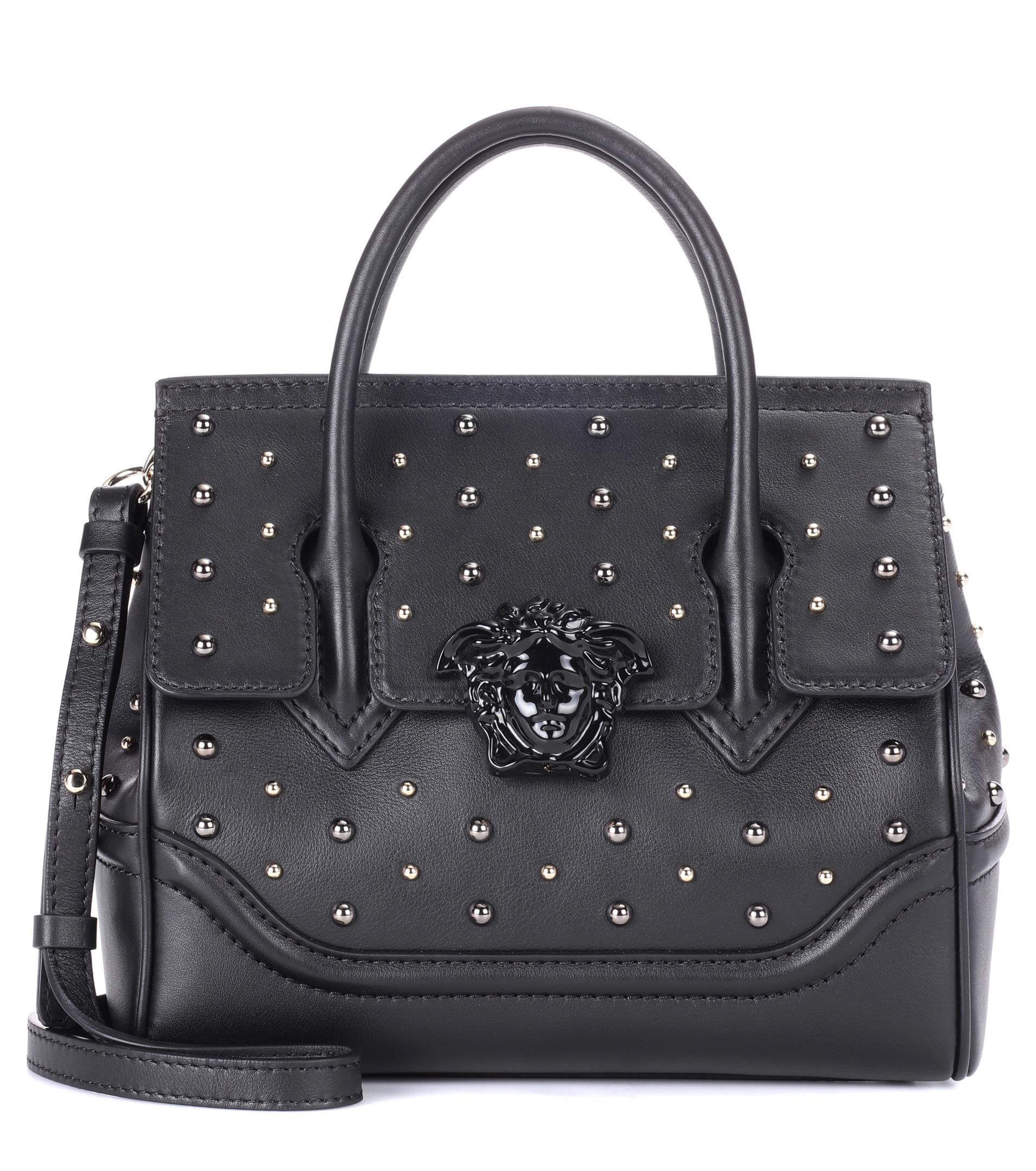 75c7a03270 Versace Palazzo Empire Small Bag In Black Calf And Studs in Black - Lyst
