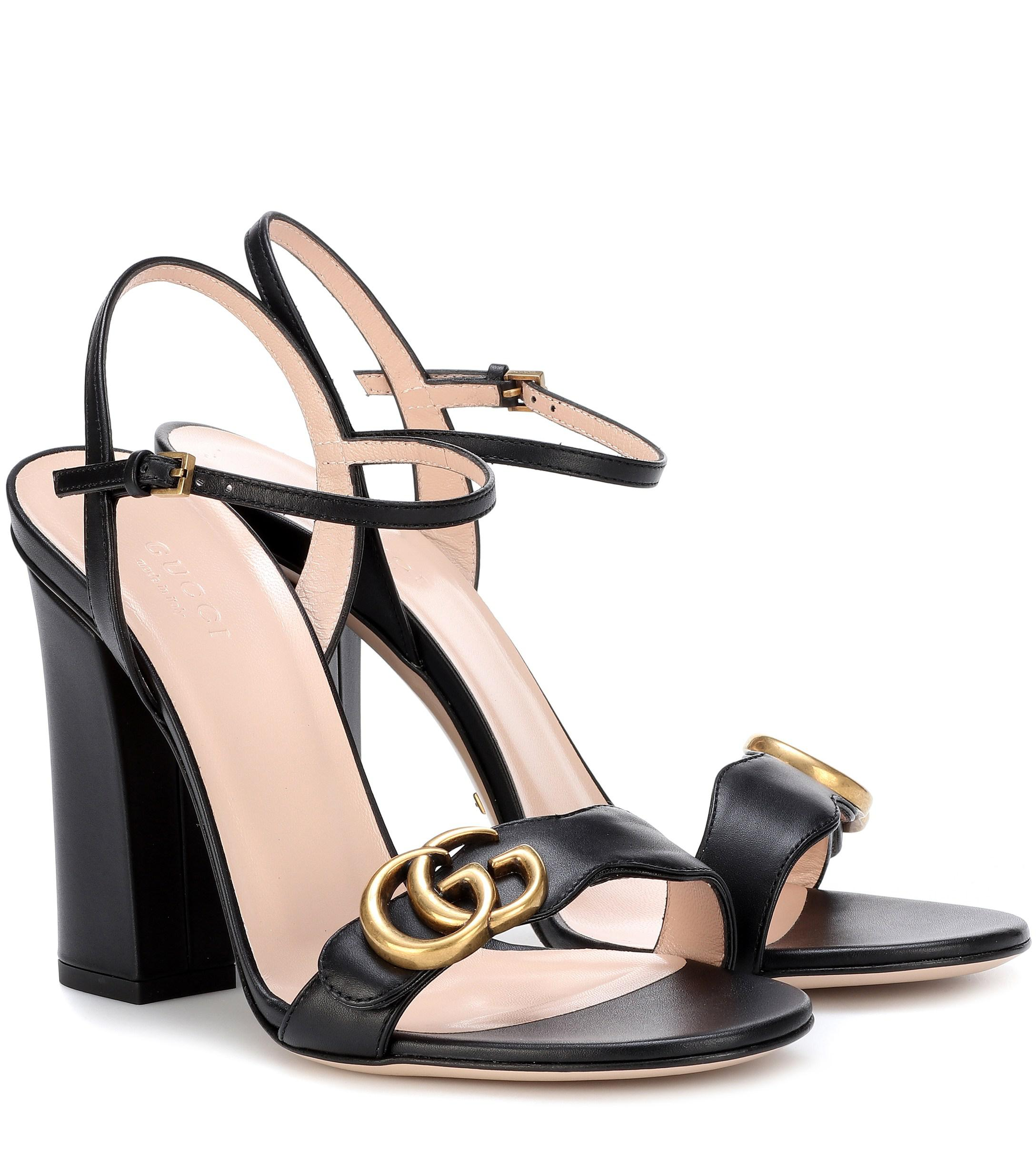 36533f6724bc Lyst - Gucci Embellished Leather Sandals in Black
