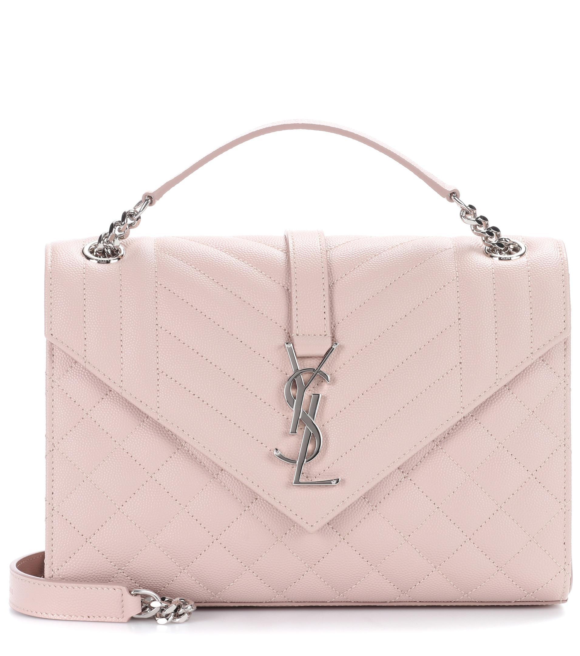 3b6ef10394f Lyst - Saint Laurent Medium Monogram Envelope Shoulder Bag in Pink