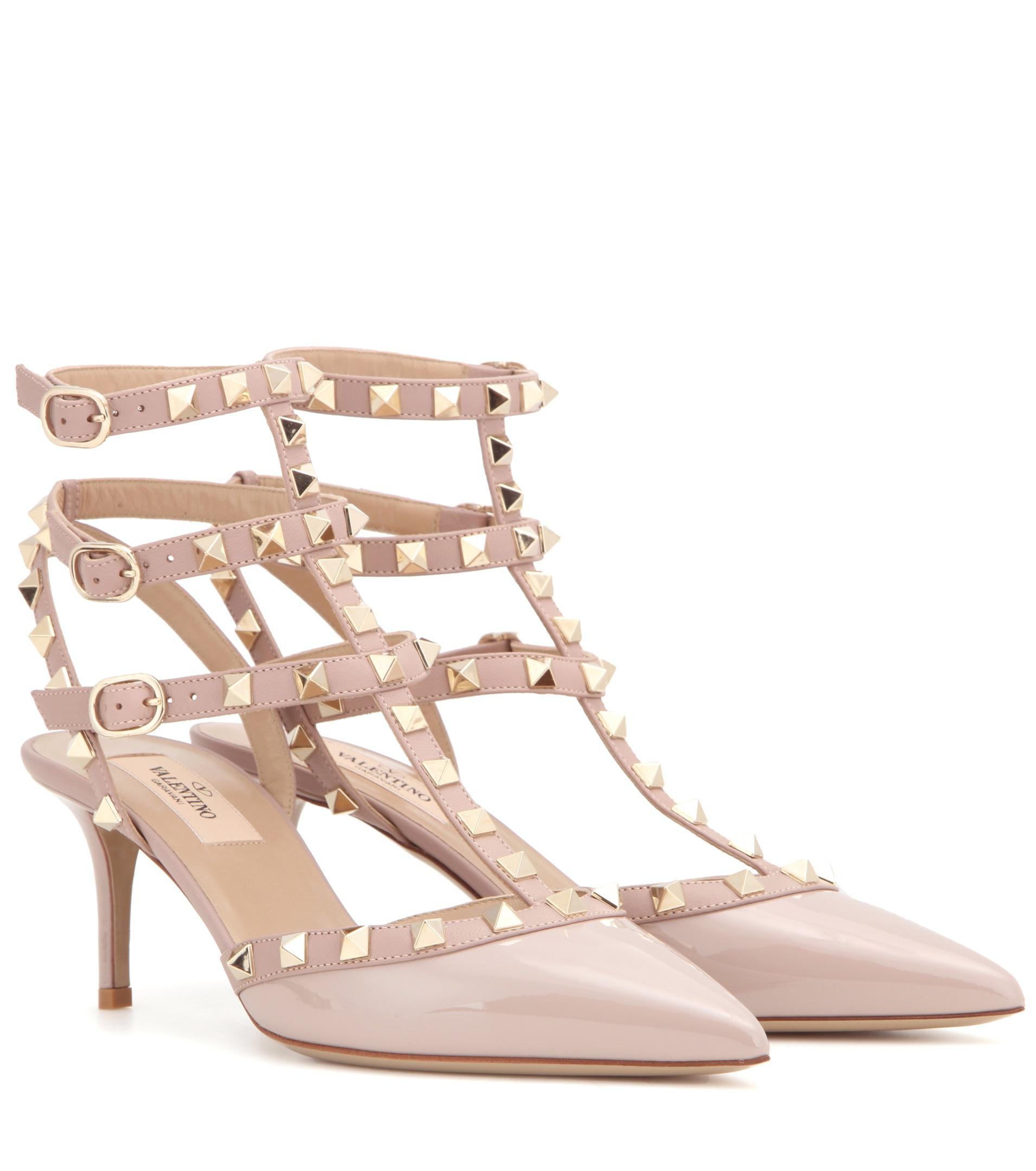 a1714065607 Lyst - Valentino Rockstud Patent Leather Pumps in Natural