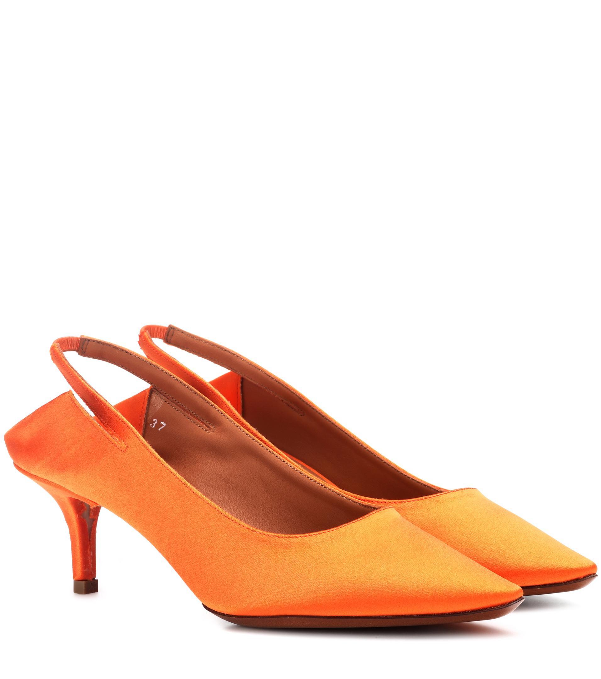263f2889efe5e Vetements Orange Slingback Satin Pumps. View fullscreen