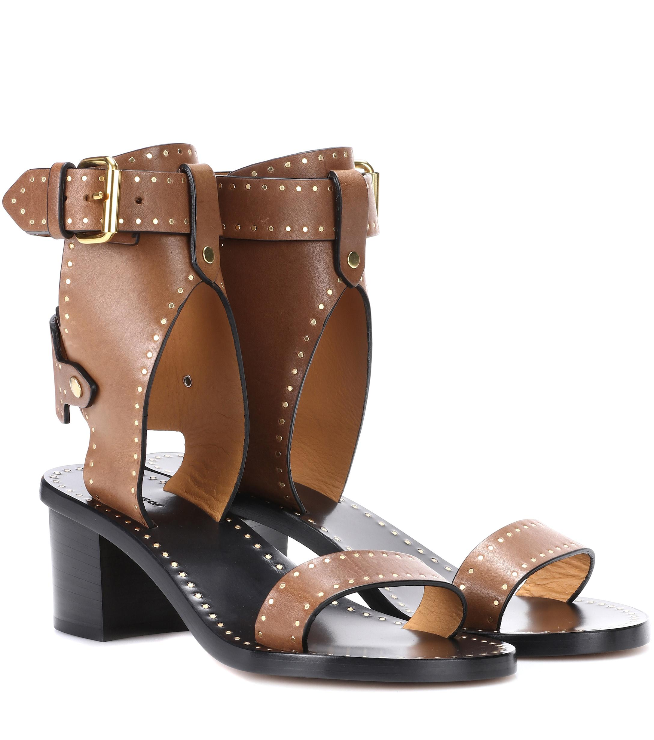 8142bfa6bebe Isabel Marant Jaeryn Studded Leather Sandals in Brown - Lyst