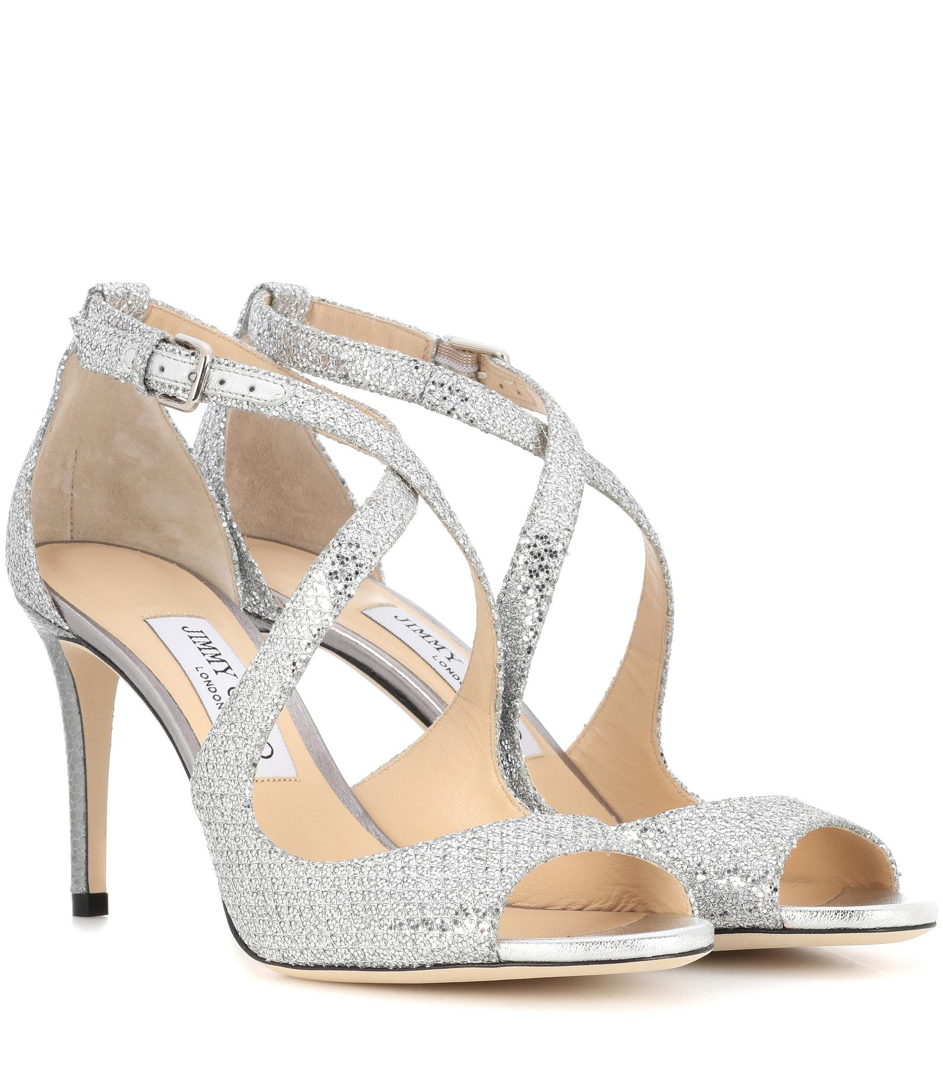 ccb15e51286e ... official store jimmy choo emily 85 glitter sandals in metallic lyst  75e77 e8fb5