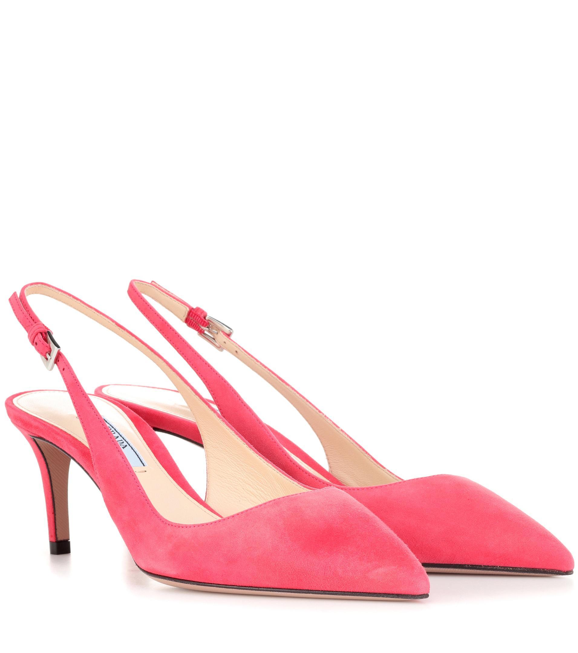 e3b43e3a092 Lyst - Prada Suede Slingback Pumps in Pink