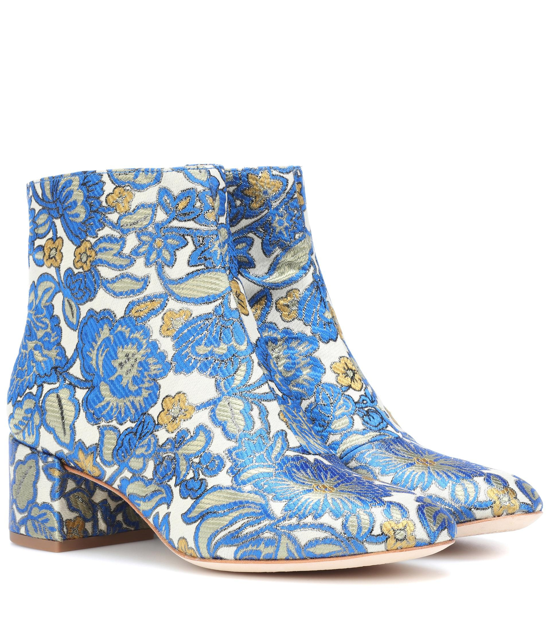 645f7e1ee Tory Burch Shelby 50 Brocade Ankle Boots in Blue - Lyst