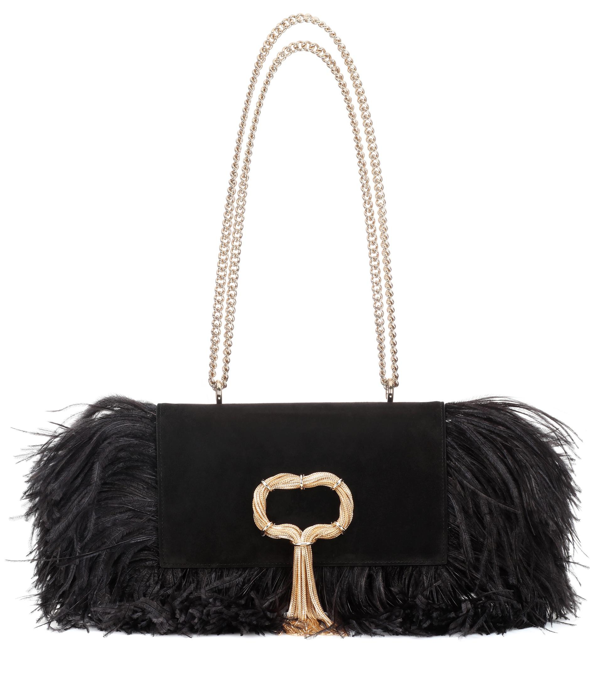 a432aee20d39 Roger Vivier Club Chain Feathers Shoulder Bag in Black - Lyst