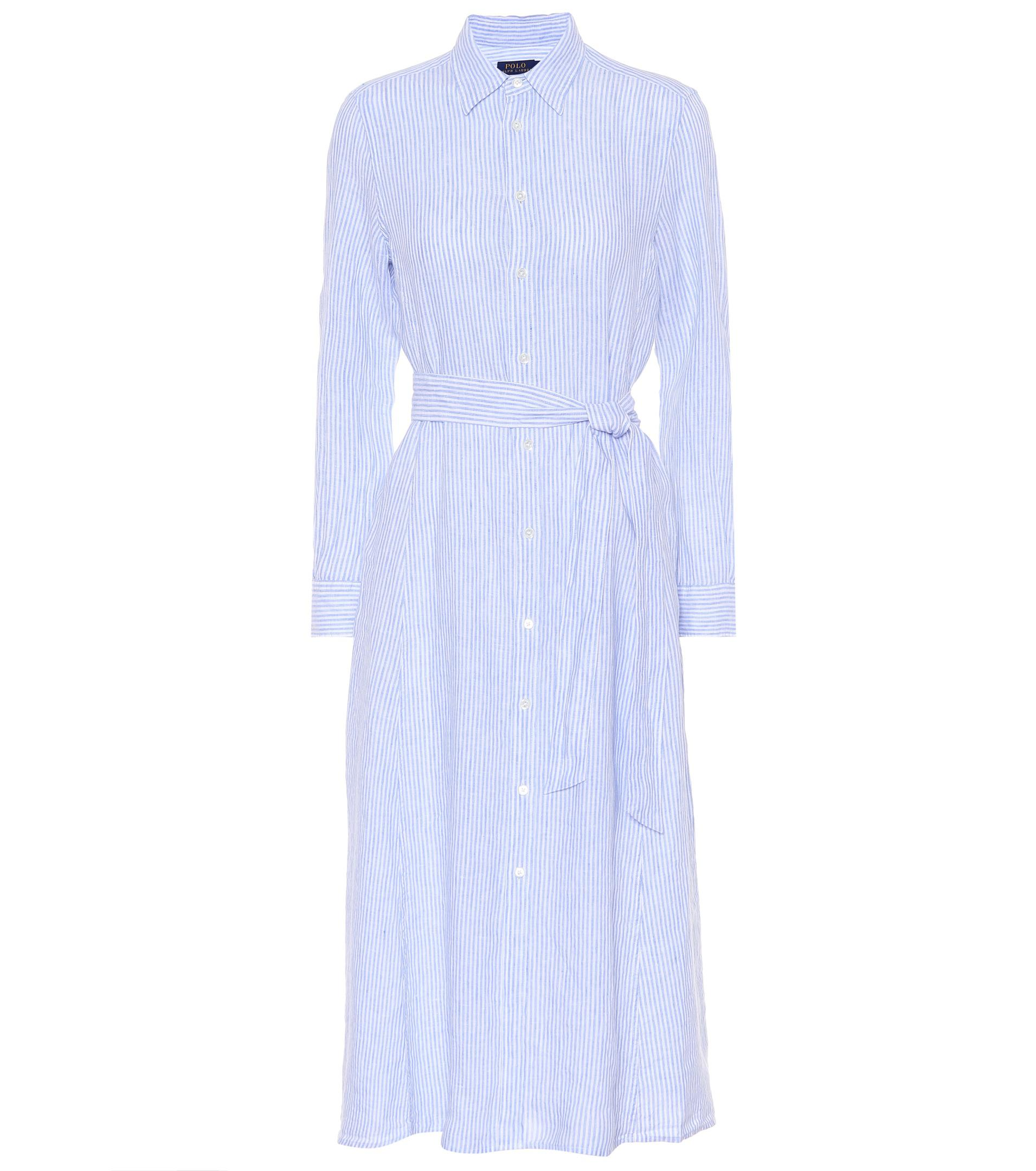 polo ralph lauren striped linen shirt dress in blue lyst