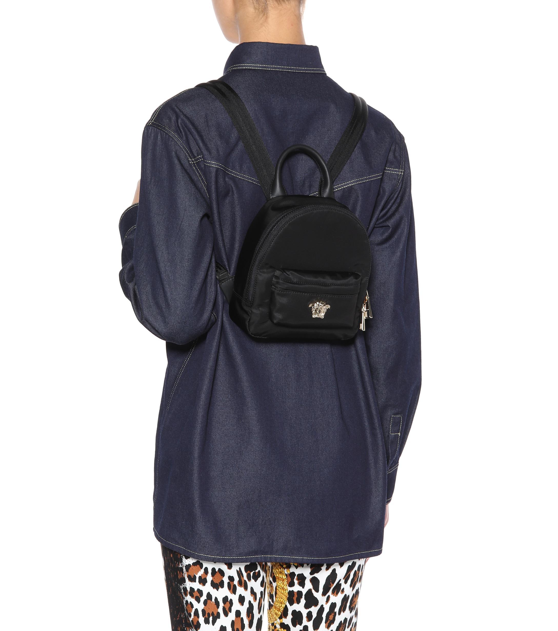 852f67b708 Versace Palazzo Mini Nylon Backpack in Black - Lyst