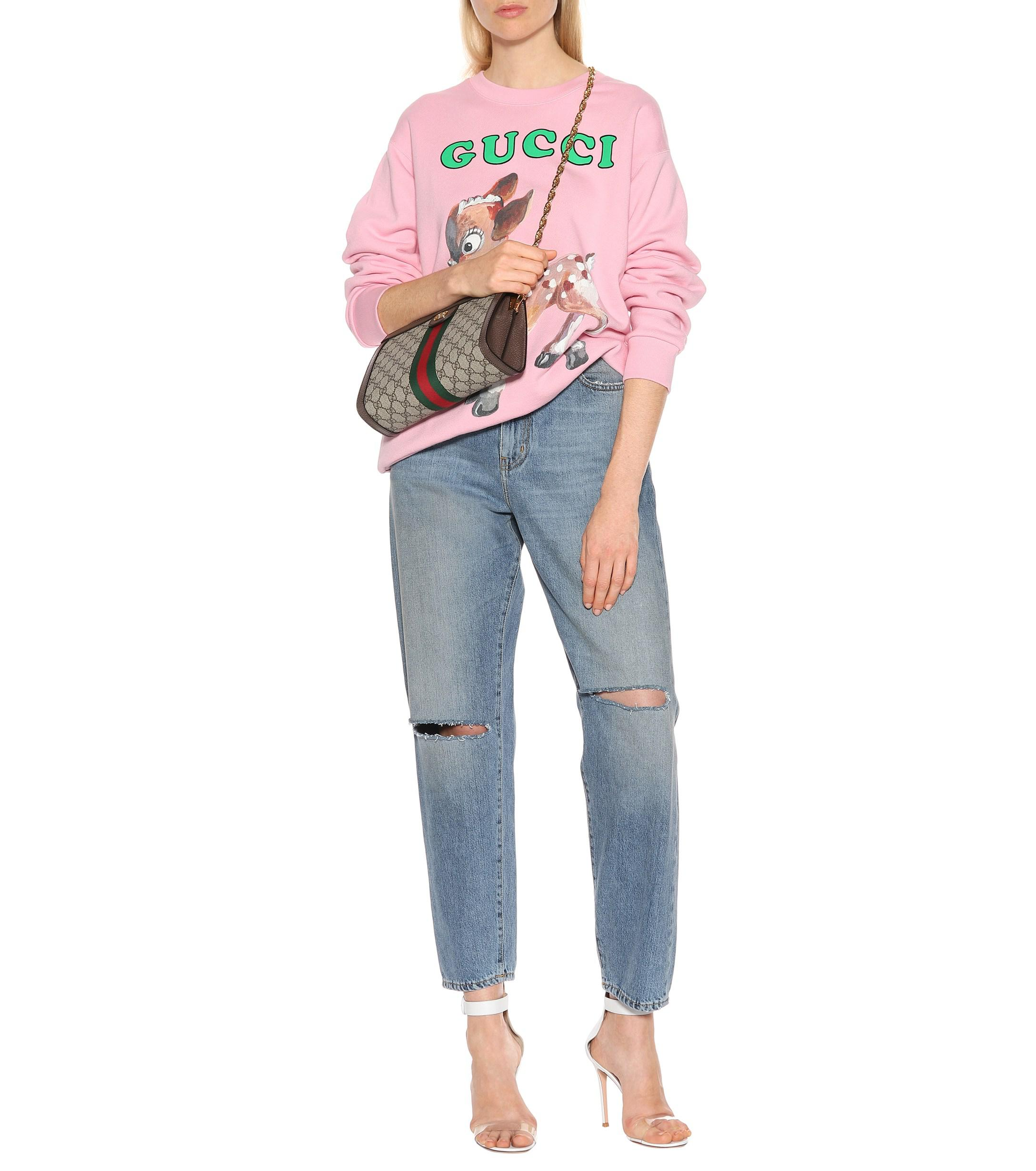 69a73d6ef7c Gucci Oversize Sweatshirt With Fawn in Pink - Lyst