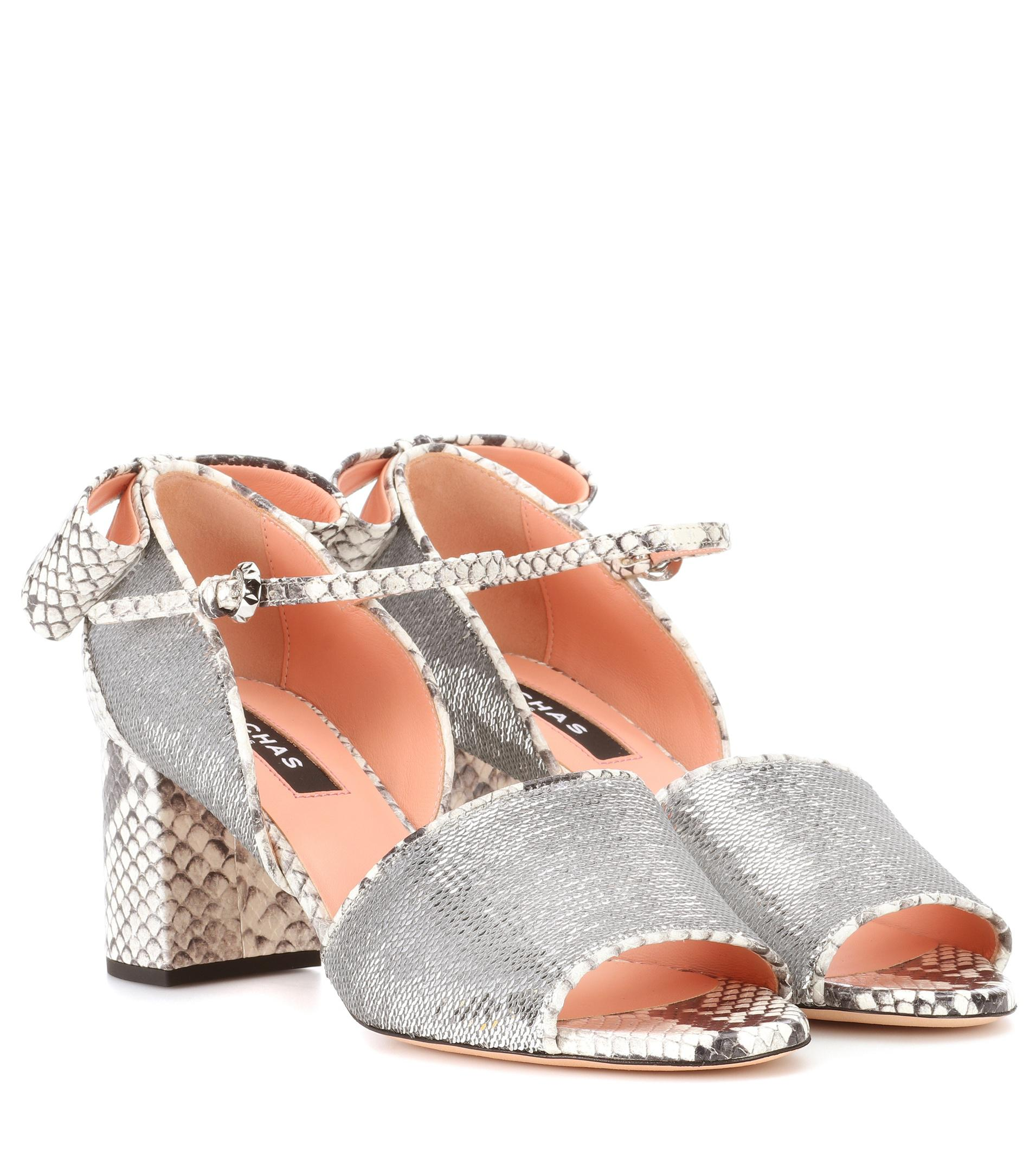 Rochas Sequin embellished leather sandals