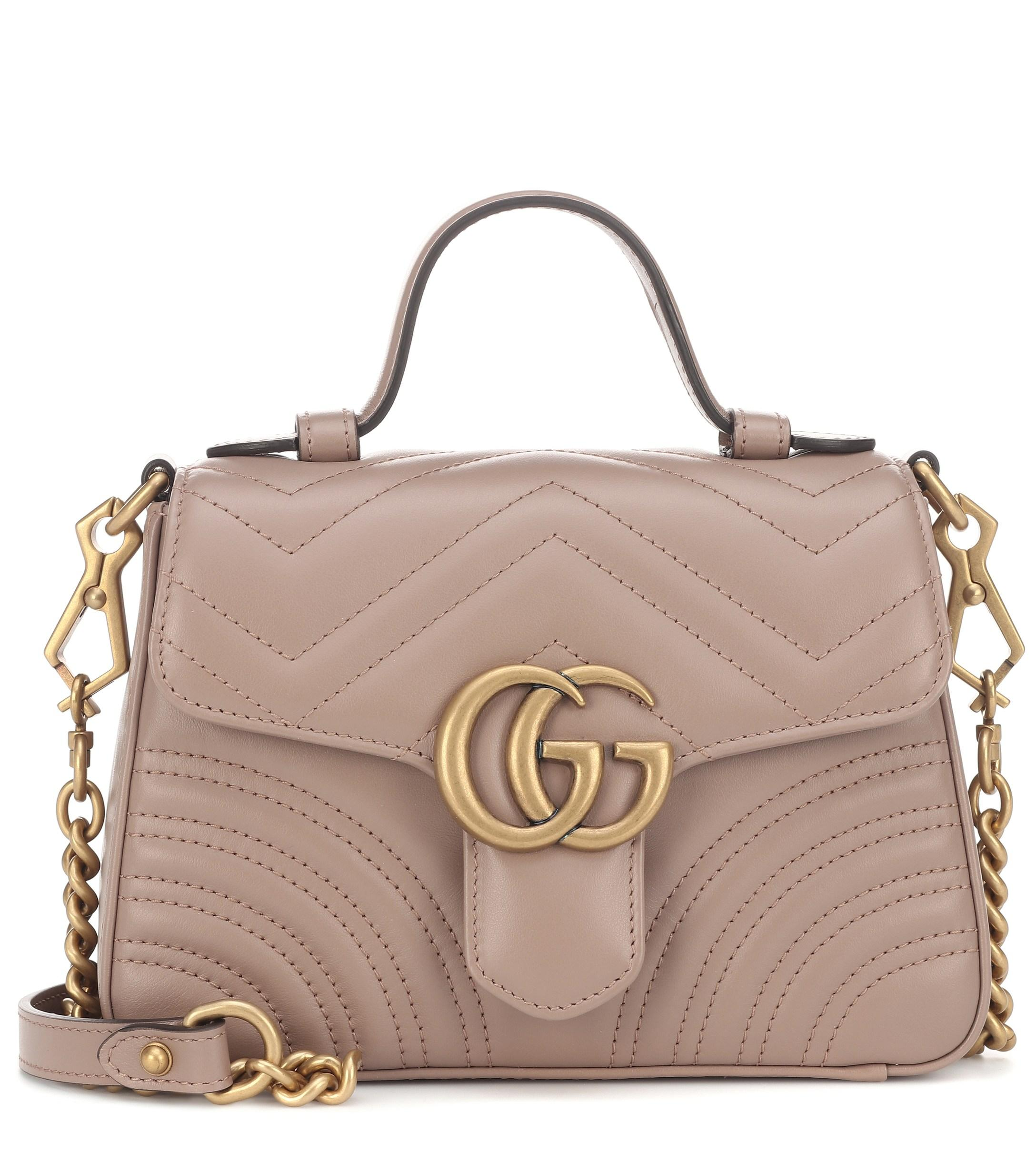 5763d7df95 Gucci GG Marmont Mini Shoulder Bag in Natural - Lyst