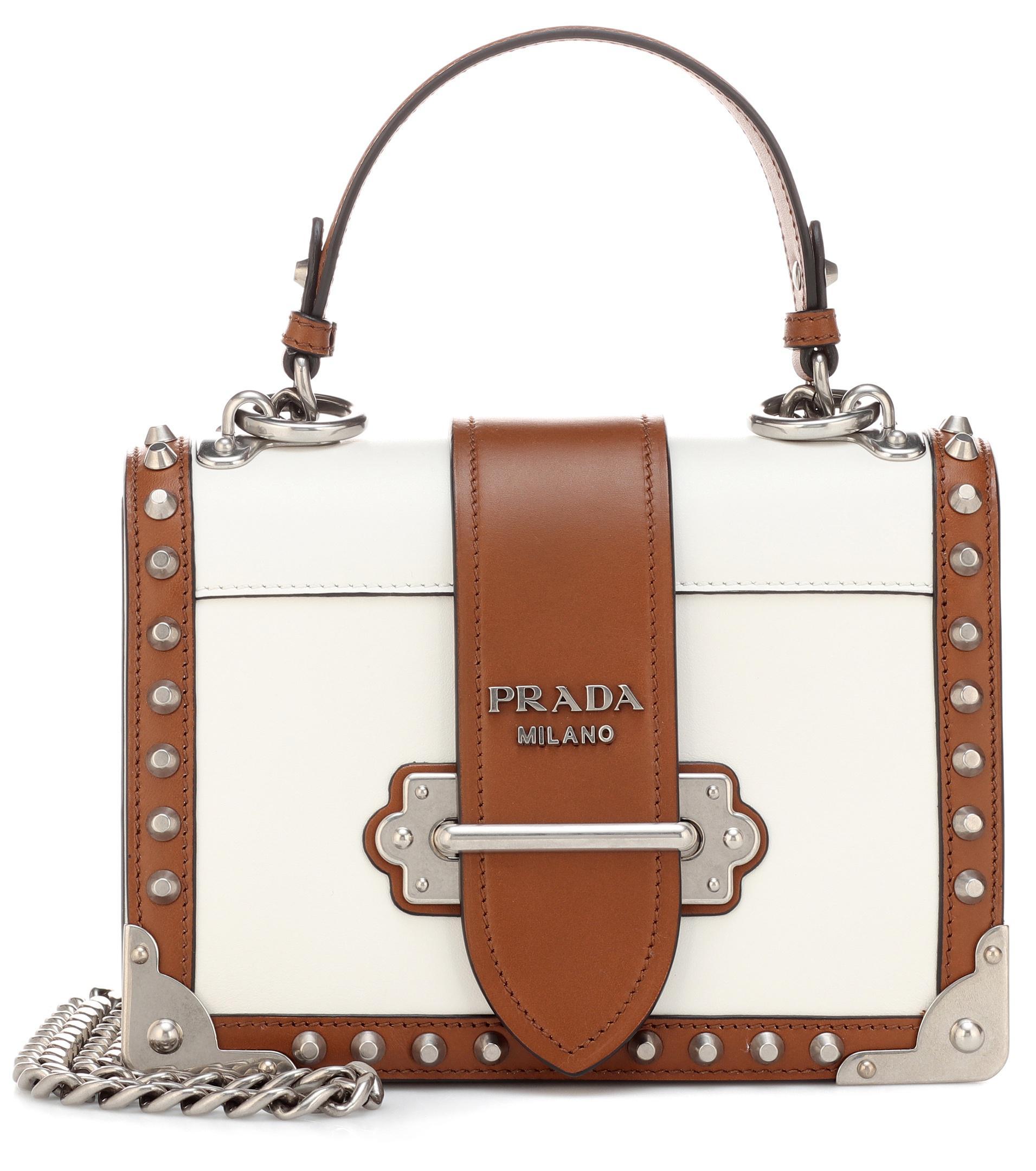 e11053af78 Lyst - Prada Cahier Leather Shoulder Bag in White