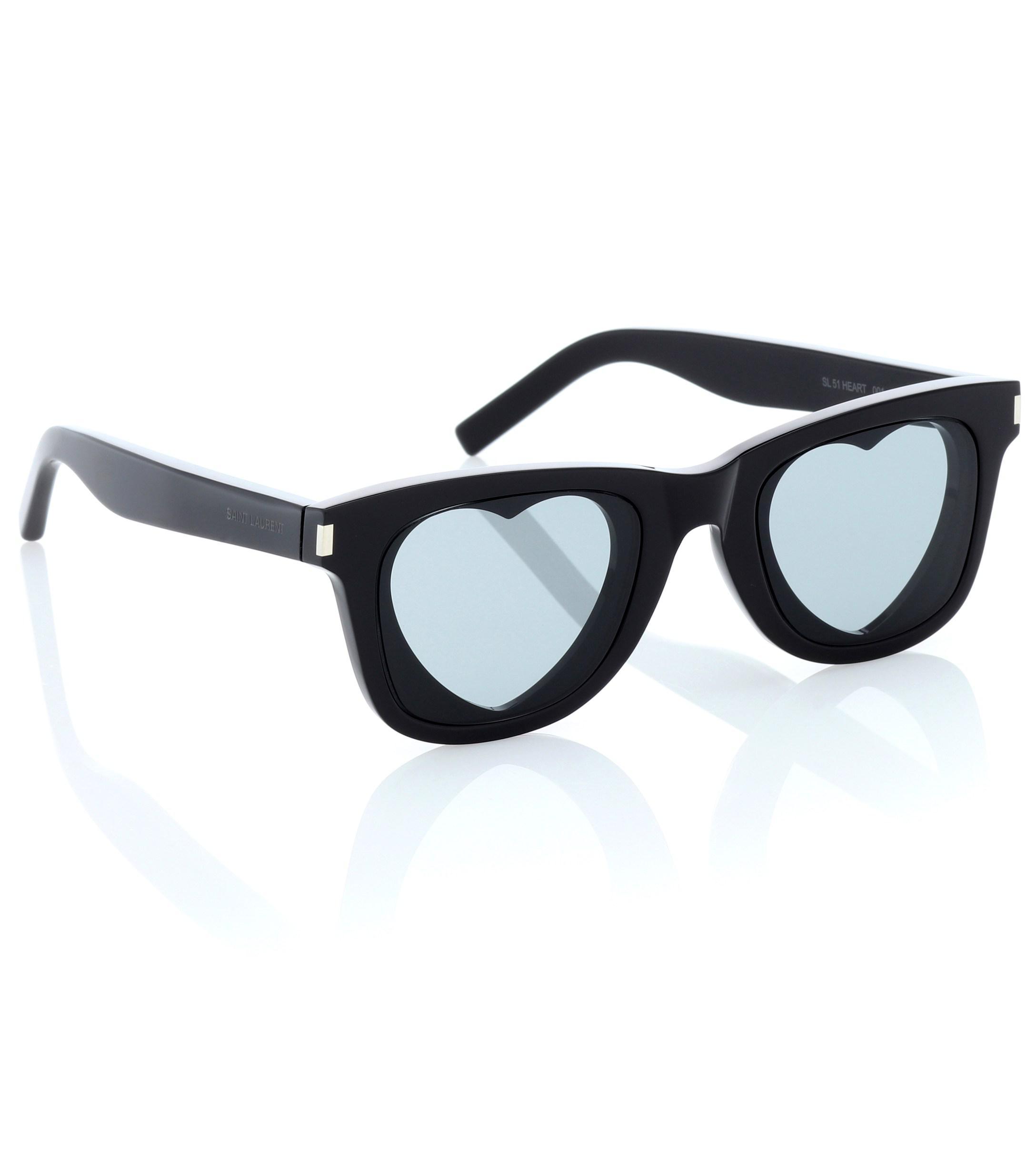 95ff85c7d6 Lyst - Saint Laurent Classic Sl 51 Heart Sunglasses in Black