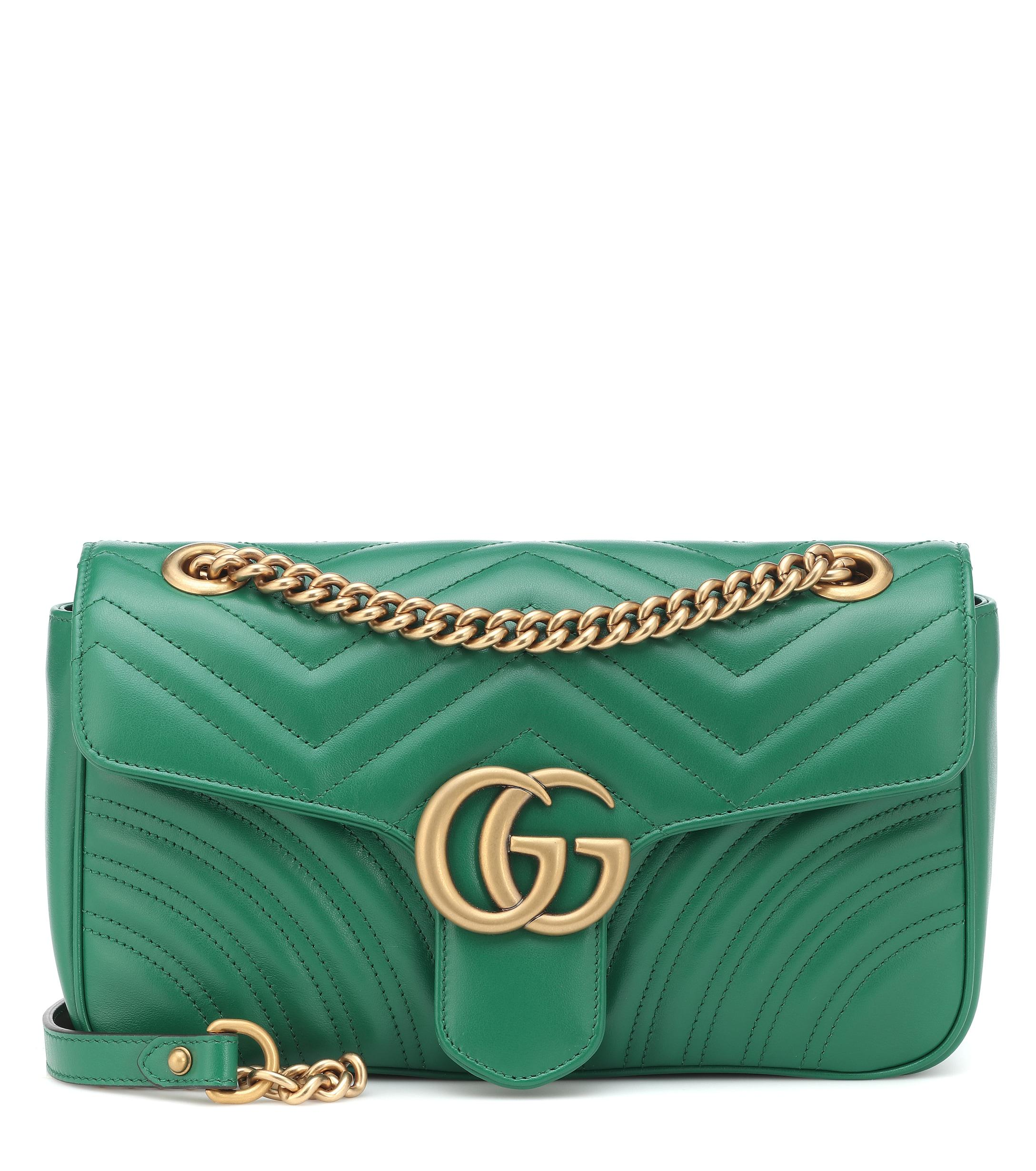 455bd4ee387012 Gucci GG Marmont Small Shoulder Bag in Green - Lyst