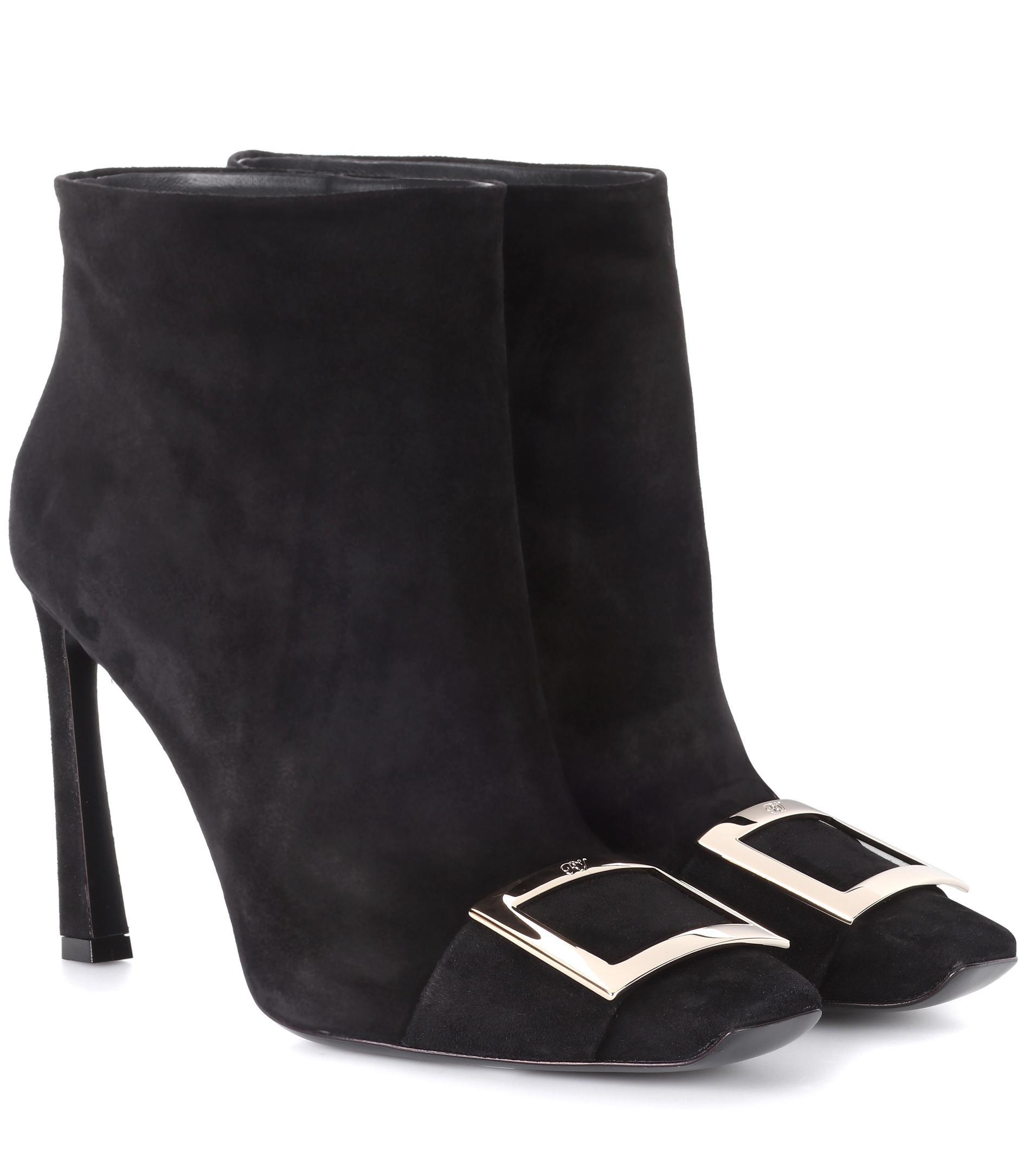 Roger Vivier. Women's Black Embellished Suede Ankle Boots