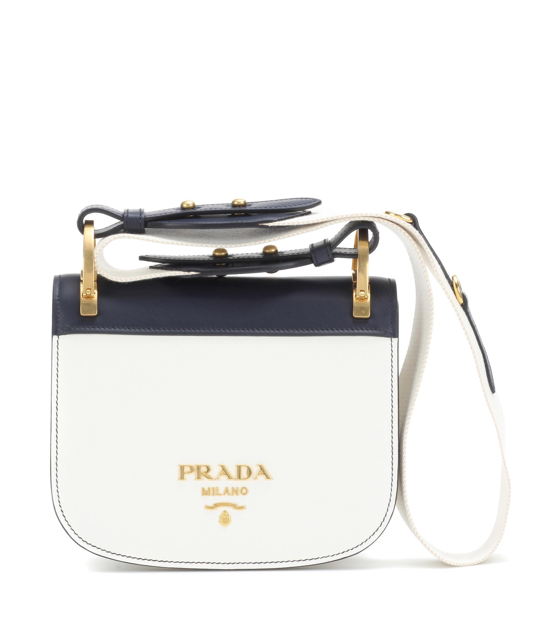 3fe2f971973b Prada Pionnière Leather Shoulder Bag in White - Lyst