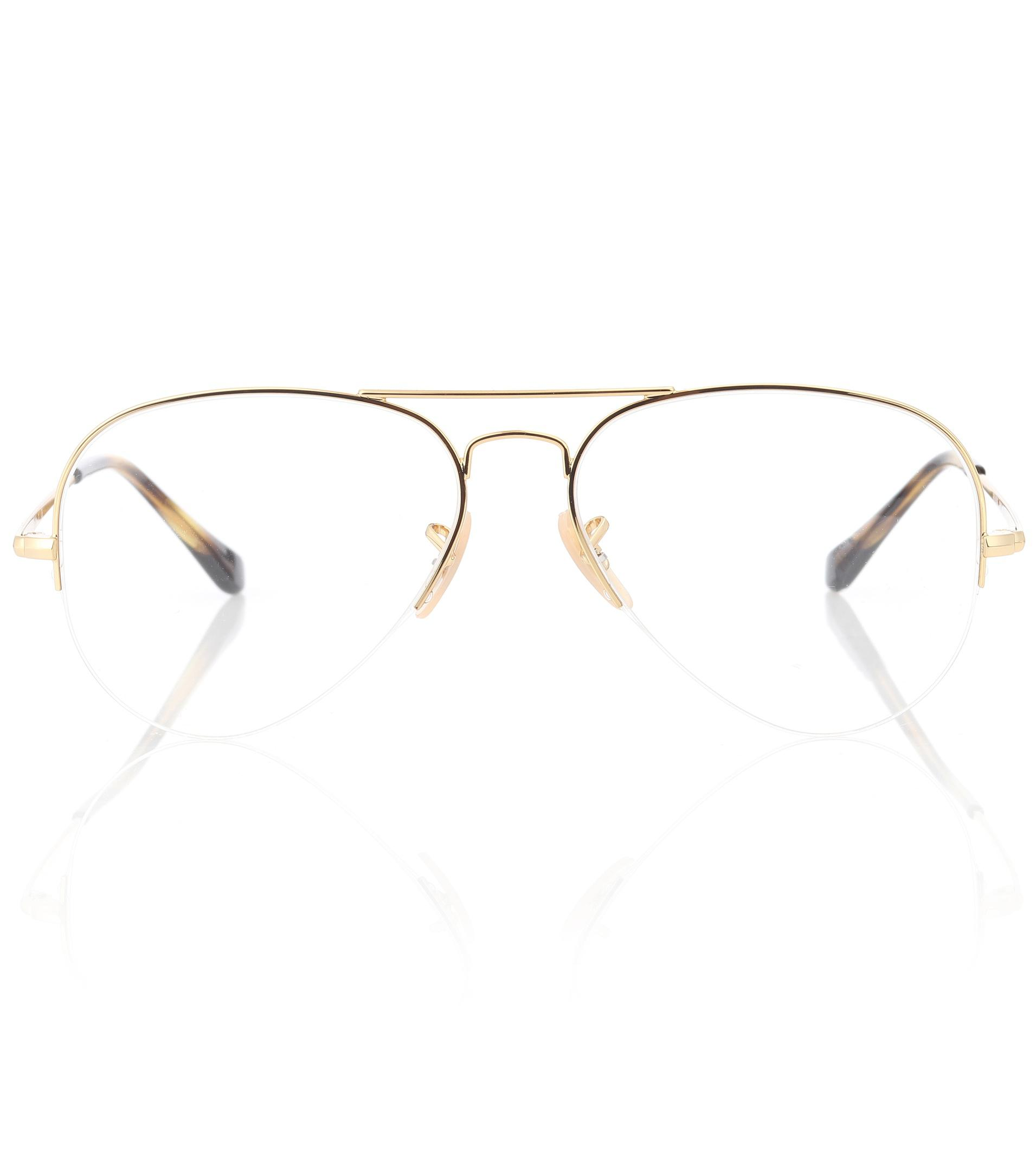 e58072679 Ray-Ban Rx6589 Aviator Gaze Glasses in Metallic - Lyst
