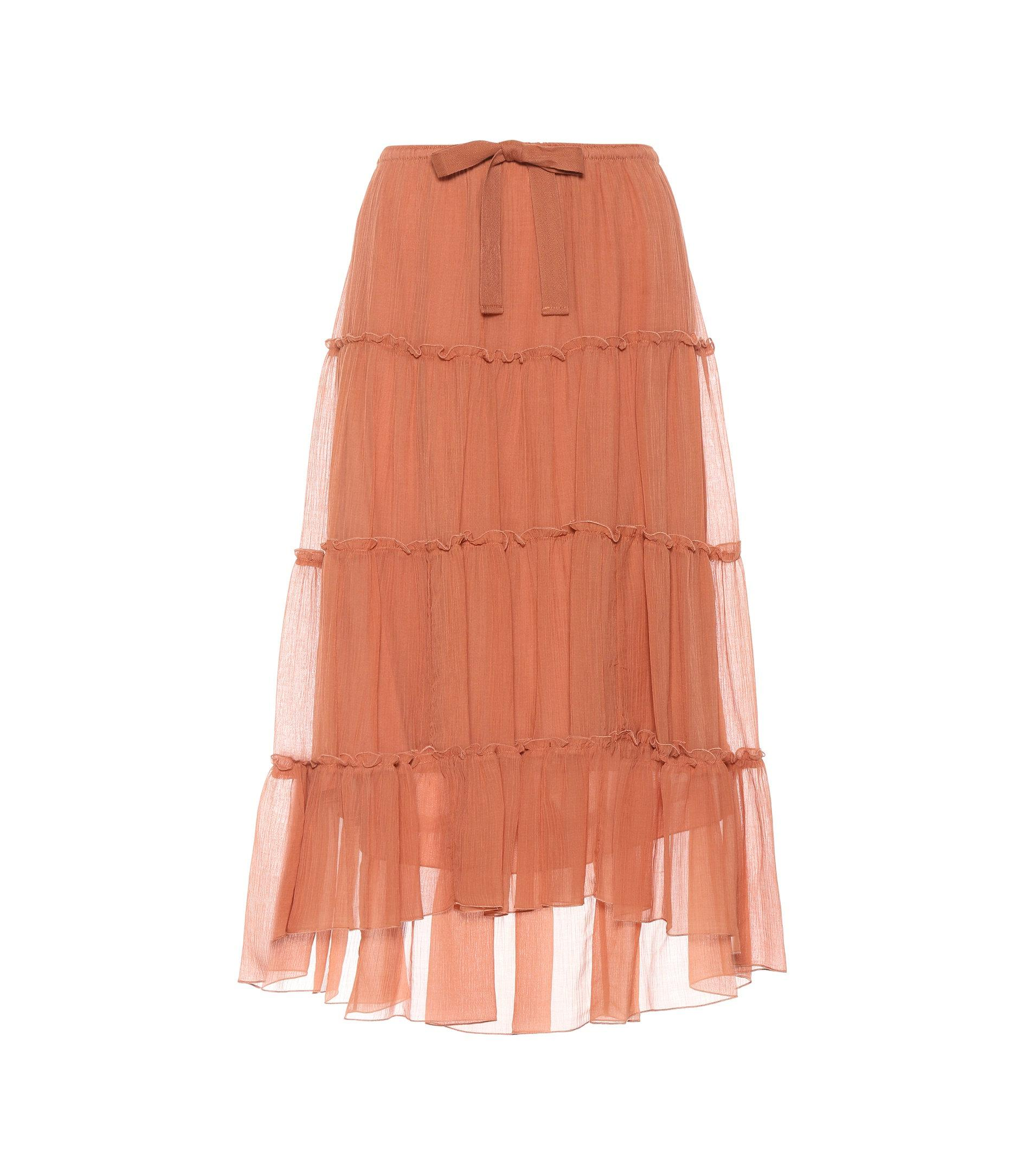 Tiered cotton and silk skirt See By Chlo tPviBEP7