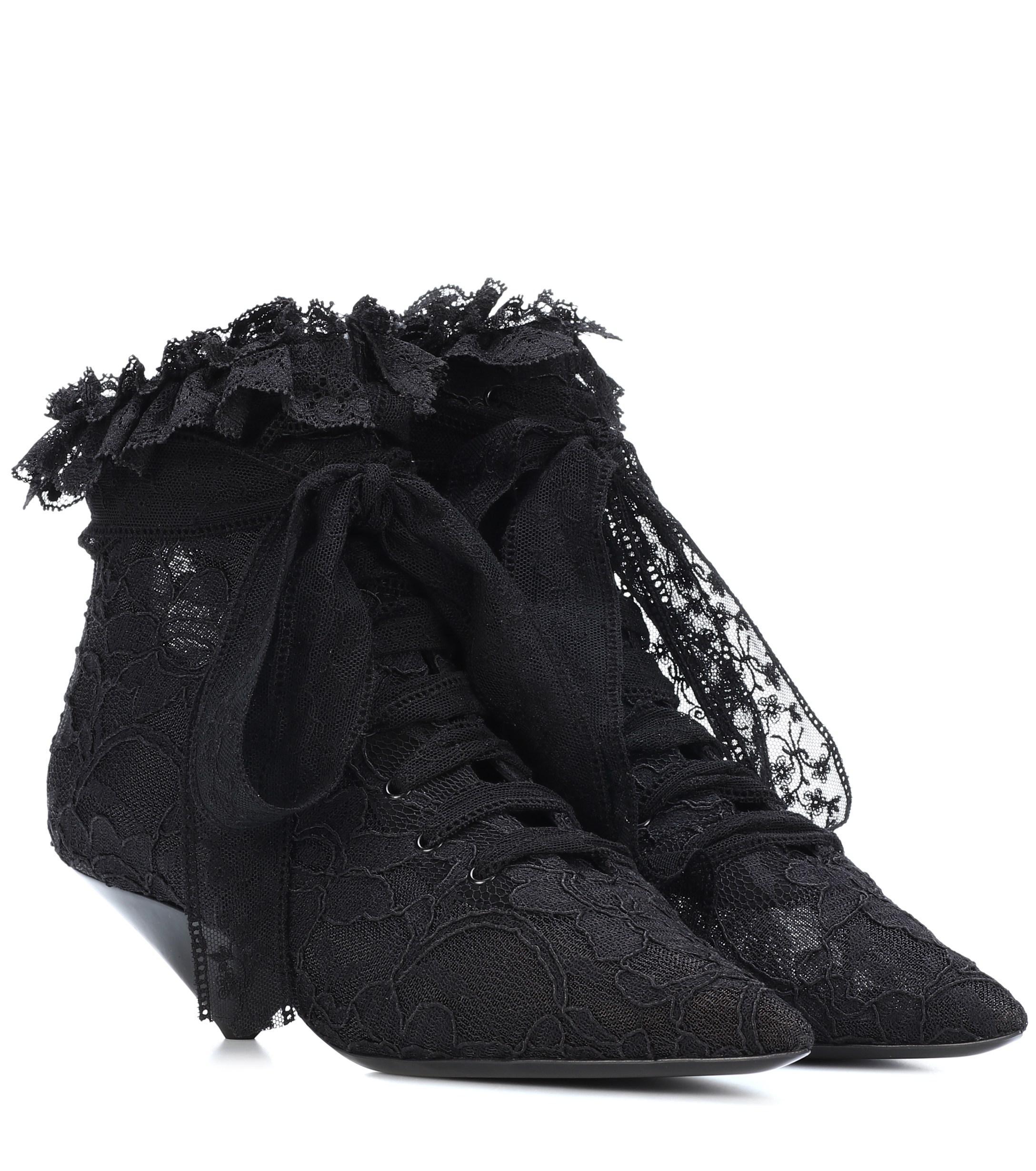4cfa5eb1346 Saint Laurent Blaze 45 Lace Ankle Boots in Black - Save 50% - Lyst