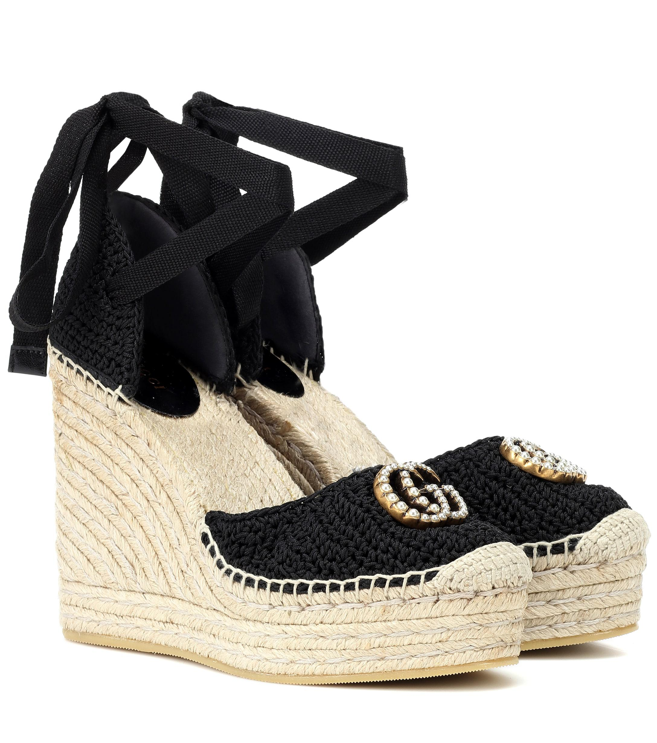 cf33c4c023b1 Lyst - Gucci Crochet Wedge Espadrilles in Black - Save 15%