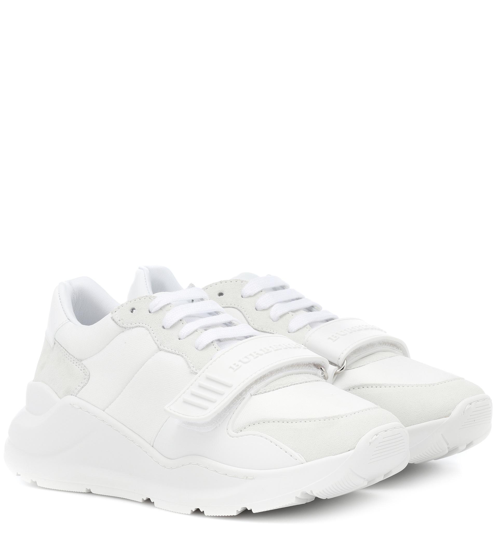 Lyst - Burberry Suede Leather And Neoprene Sneakers in White d474dbb4c