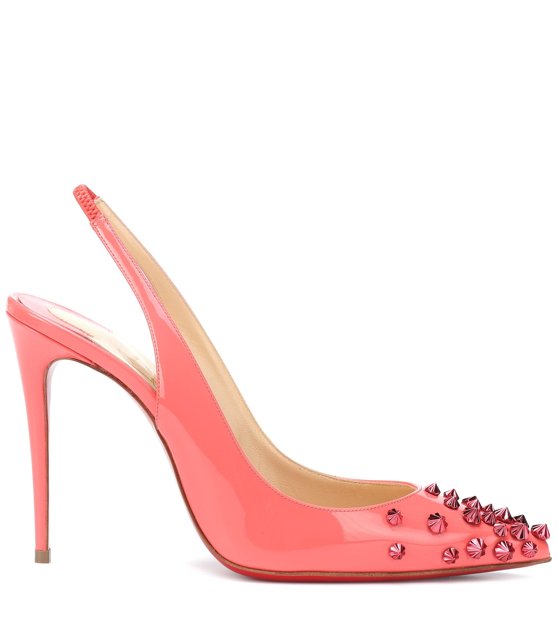 de2fd8cce905 Lyst - Christian Louboutin Drama Sling 100 Patent Leather Pumps in Pink -  Save 5%