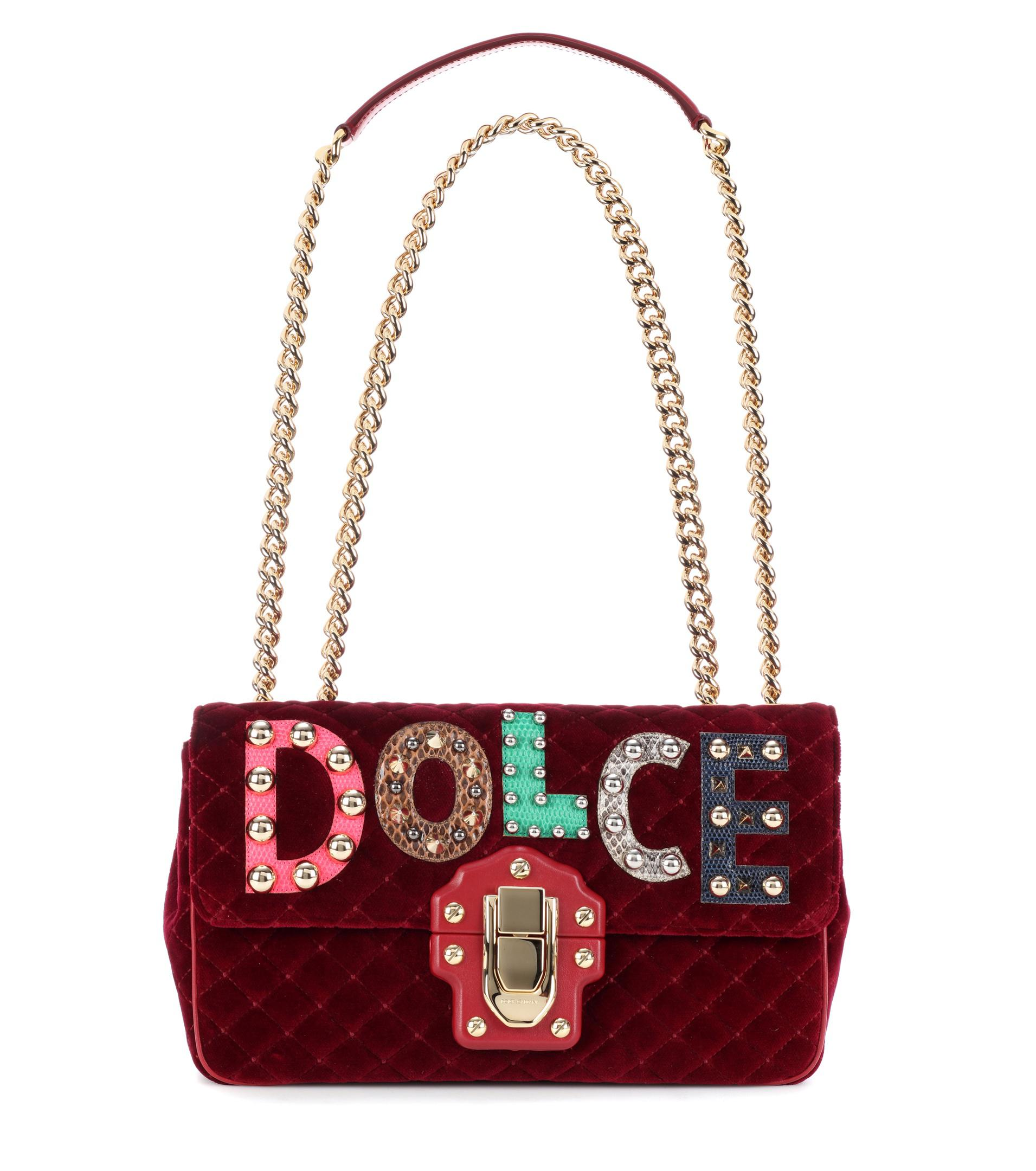 Dolce   Gabbana Lucia Leather And Velvet Shoulder Bag in Red - Lyst 29c51607bdbee