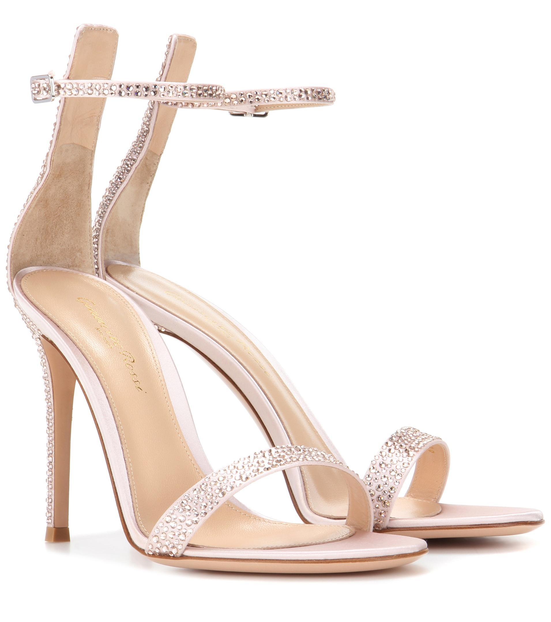 Gianvito Rossi. Women's Pink Portofino Embellished Satin Sandals