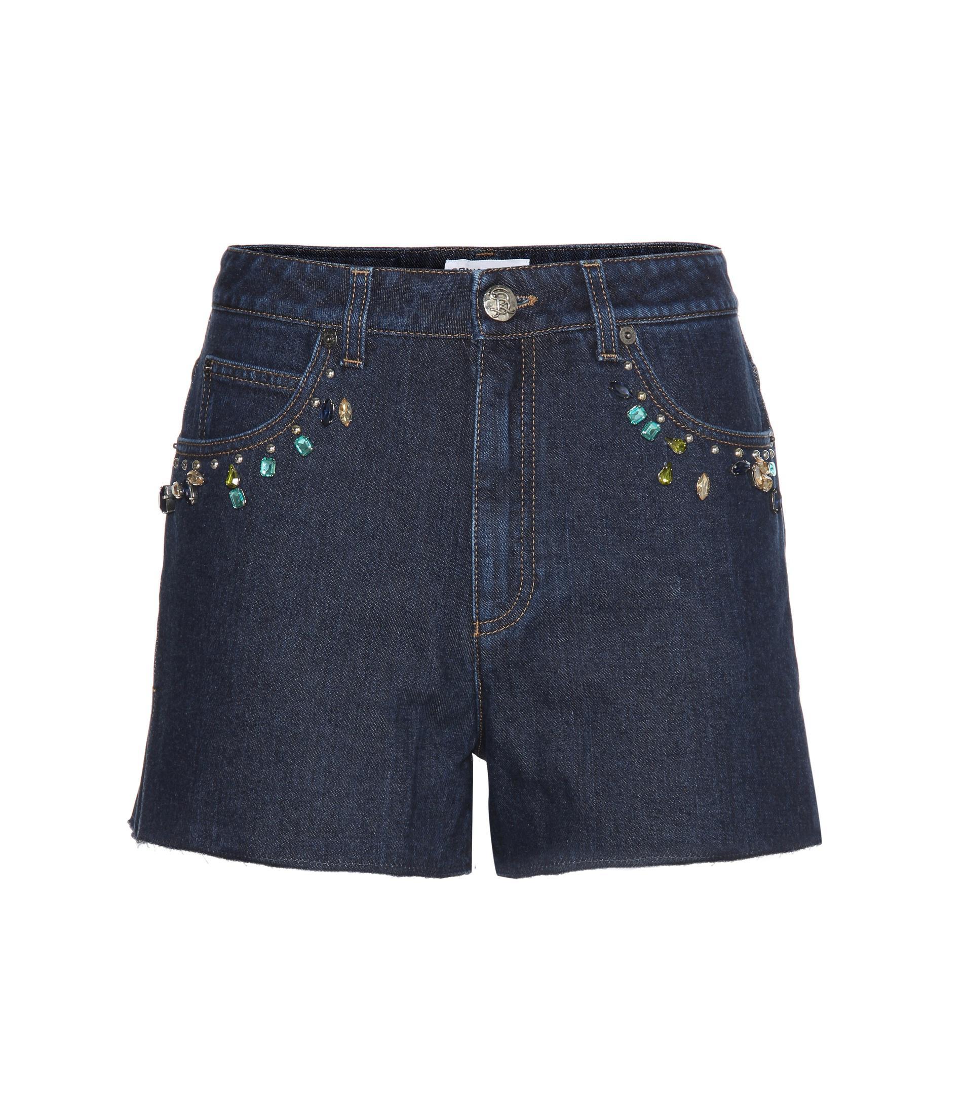 Embellished high-rise denim shorts Sonia Rykiel QNRpUJZ3Rw