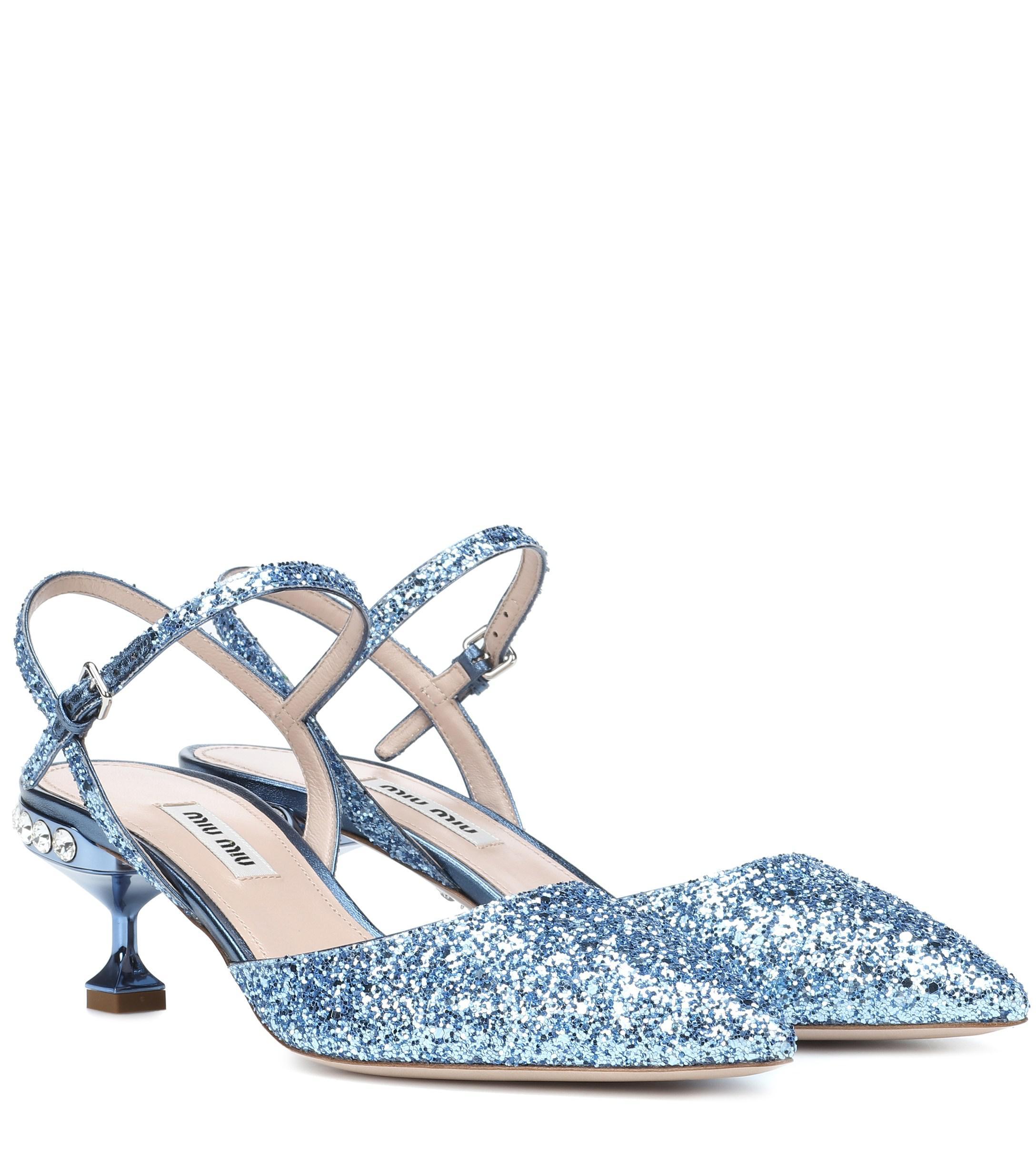 ac909fd6e05d Miu Miu. Women s Blue Glitter Slingback Pumps.  790 +  25.00 shipping ...