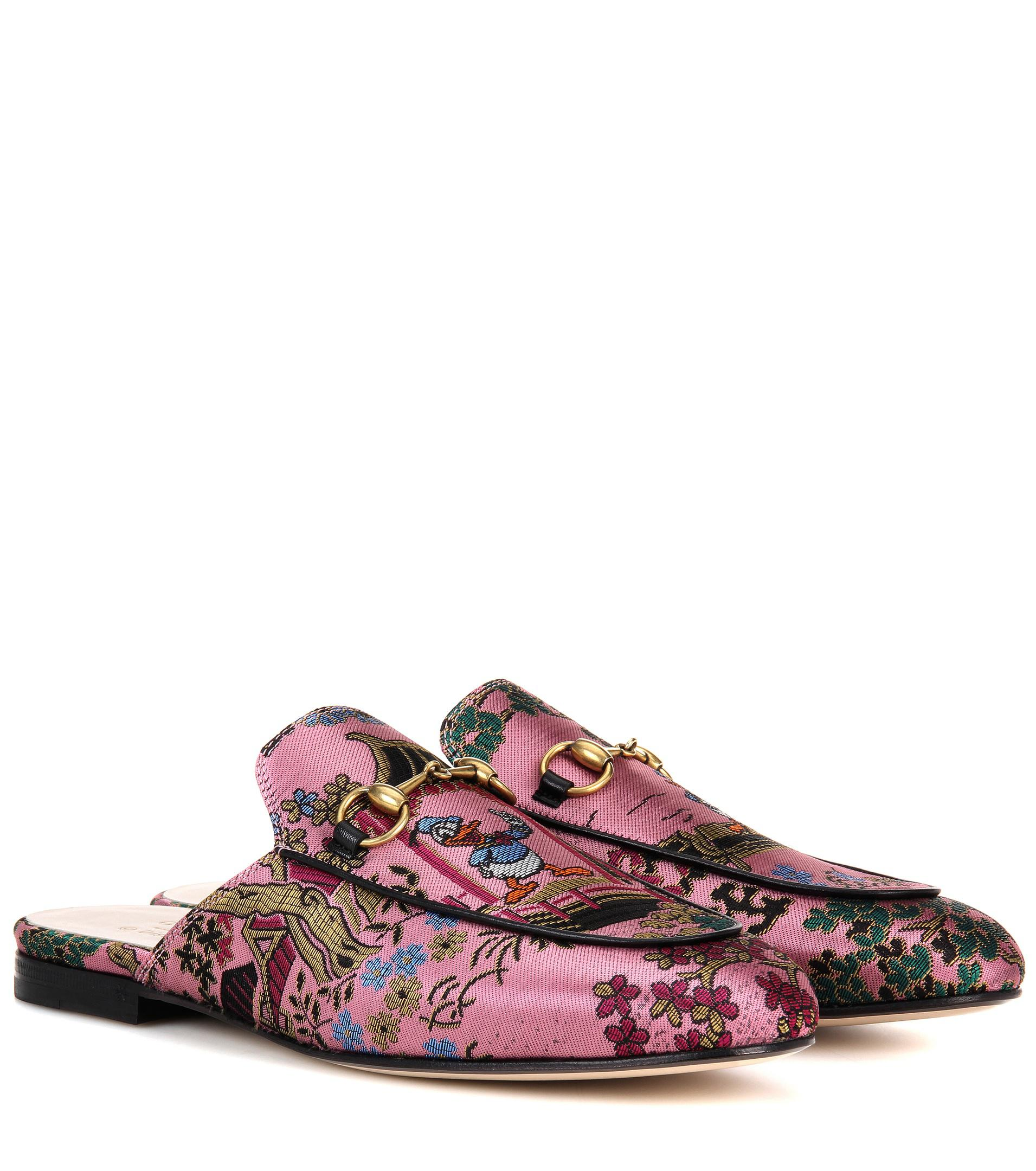 79c4359a768 Lyst - Gucci Princetown Donald Duck Jacquard Slippers in Pink