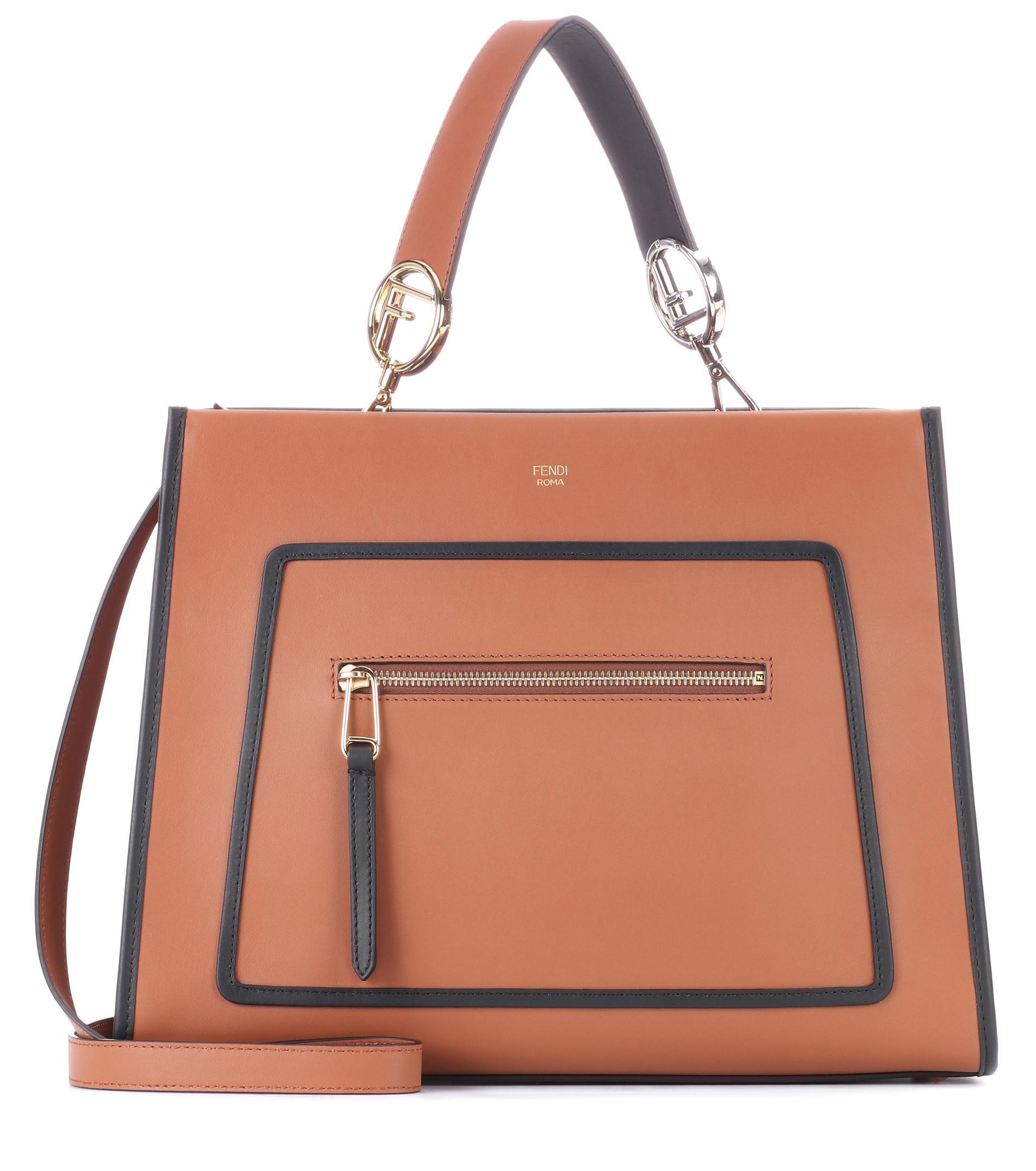 b14556dde641 Fendi Runway Small Leather Shoulder Bag in Brown - Lyst