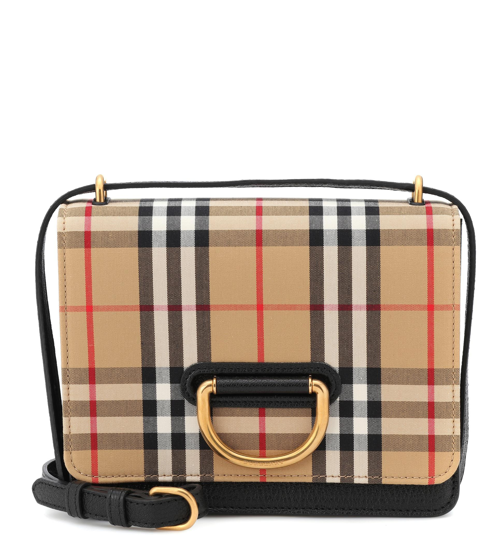 7fbb3dabb153 Lyst - Burberry Small Vintage Check Crossbody Bag in Black