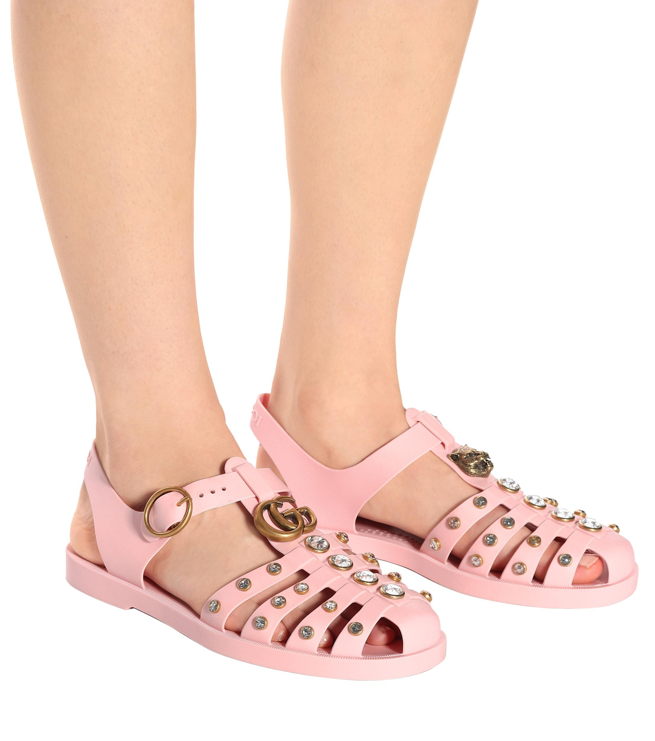 cf31bb6bc009 Lyst - Gucci Crystal-embellished Jelly Sandals in Pink