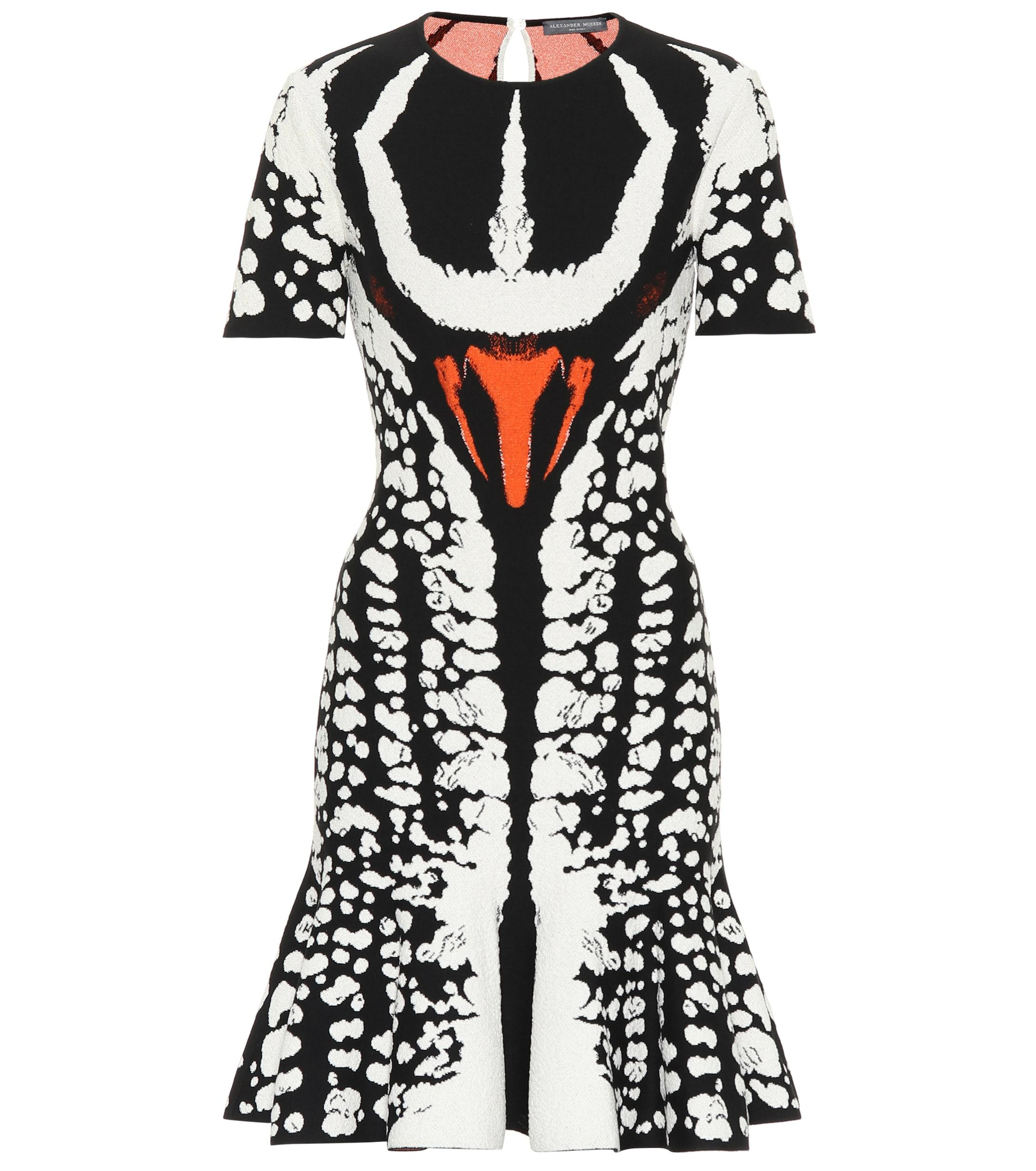 Lyst Alexander Mcqueen Beetle Flared Knitted Minidress