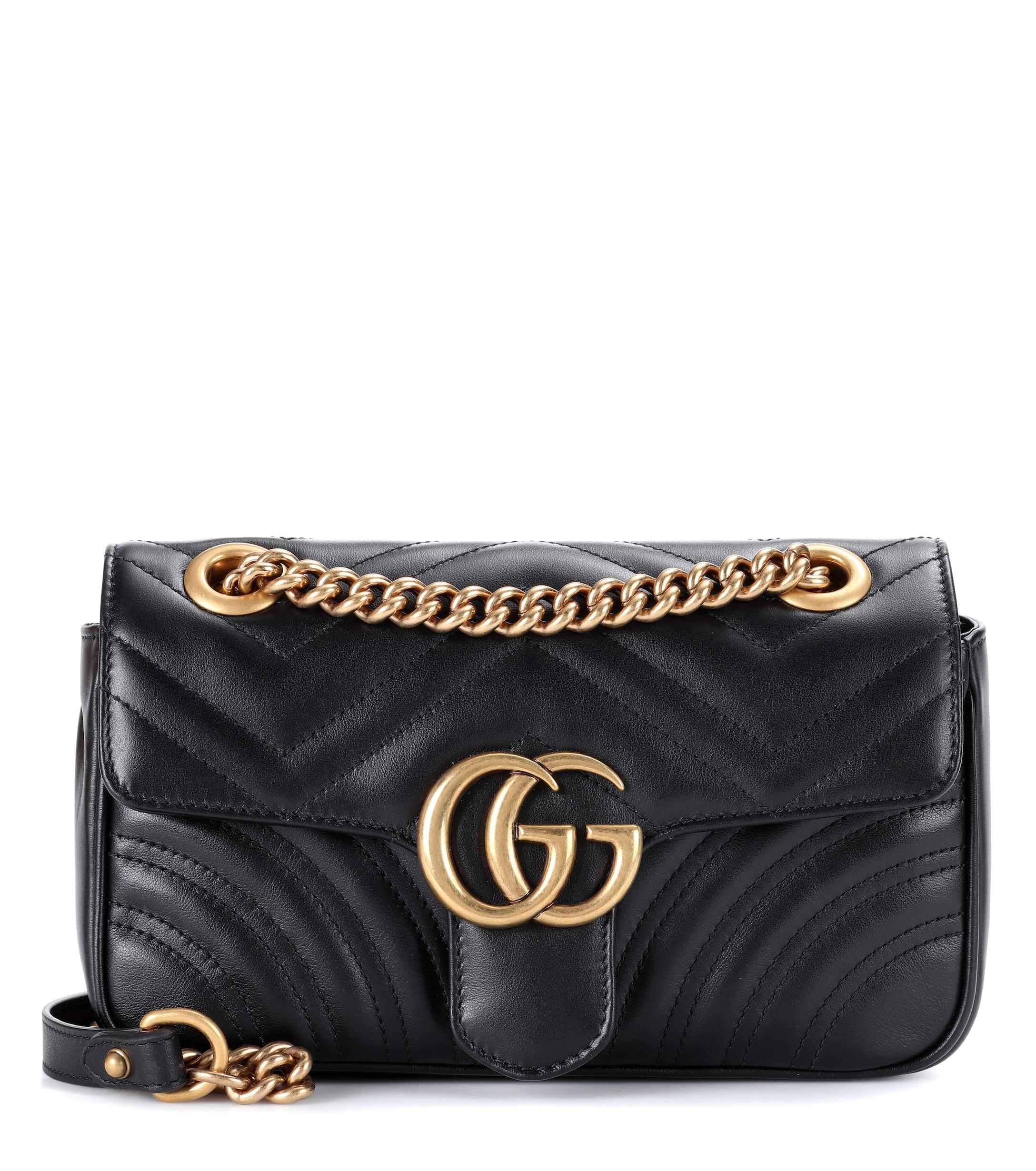 6cb1557ac60 Lyst - Gucci Mini Gg Marmont 2.0 Leather Shoulder Bag in Black