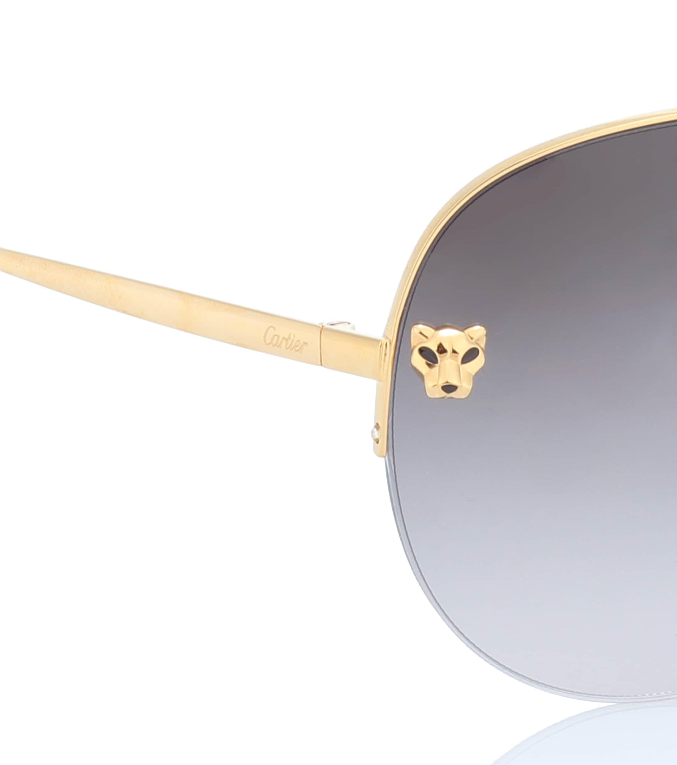 65c226b1f9 Lyst - Cartier Panthère De Cartier Aviator Sunglasses in Metallic