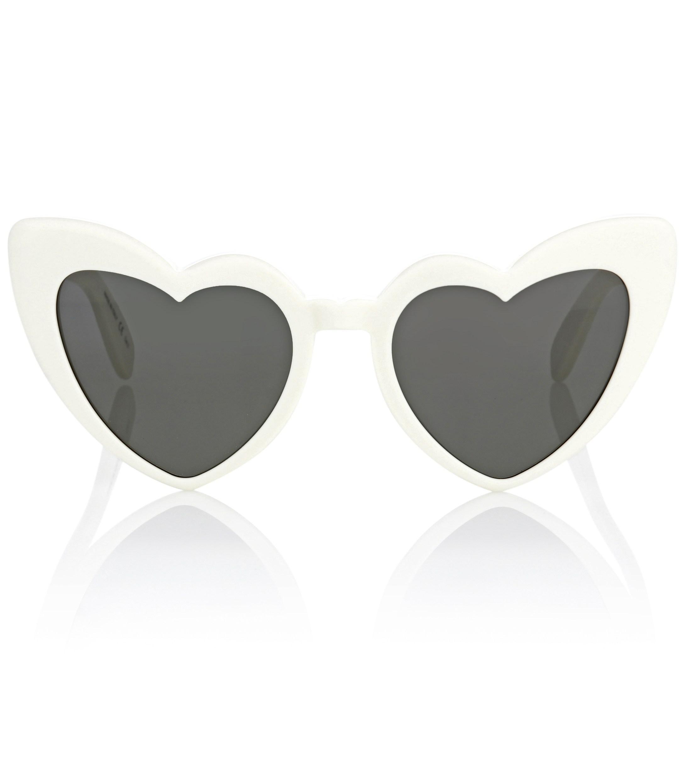 07672485605 Saint Laurent Heart-shaped Sunglasses in White - Lyst
