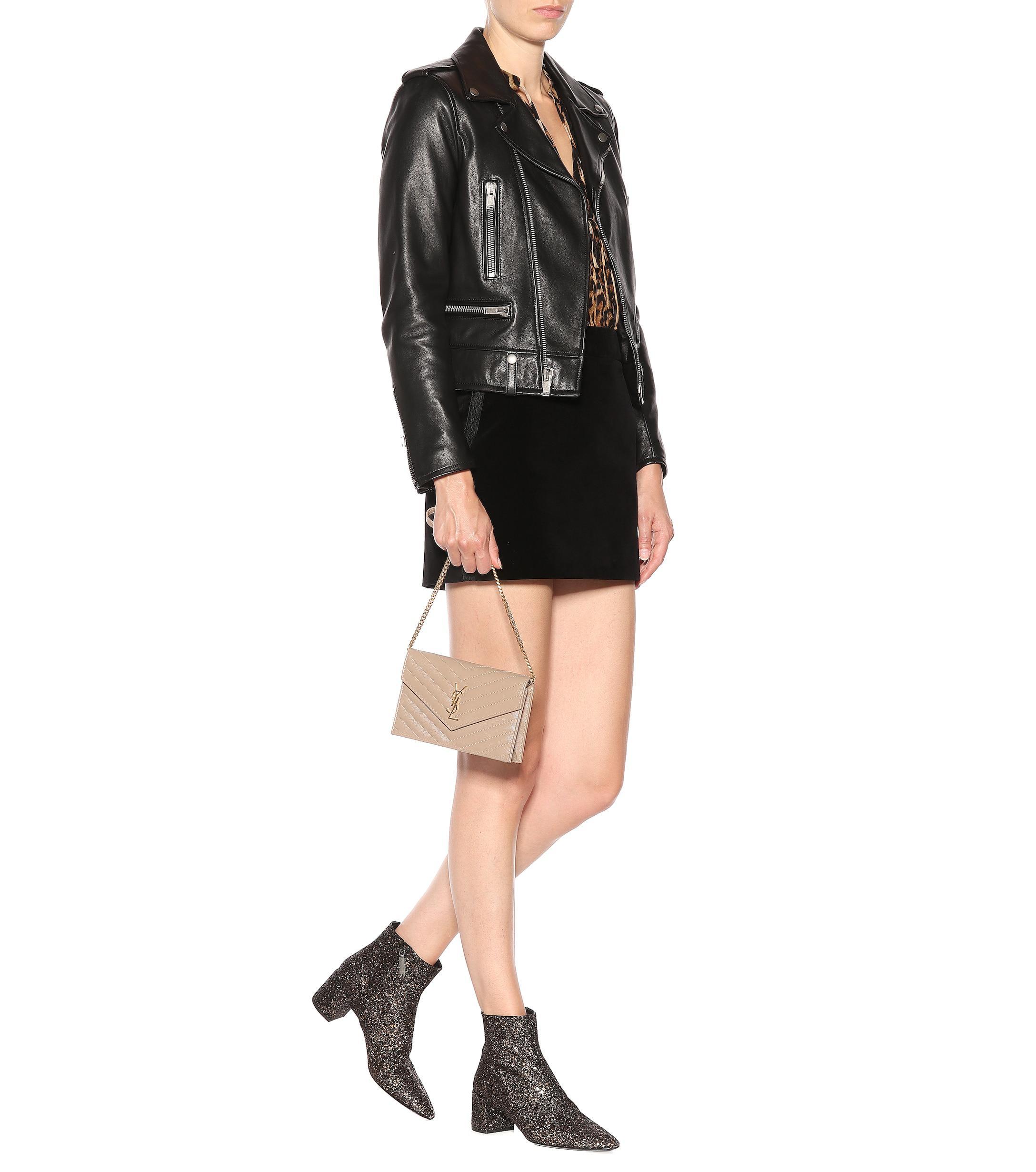 9f1897b9024 Saint Laurent - Metallic Loulou 50 Glitter Ankle Boots - Lyst. View  fullscreen