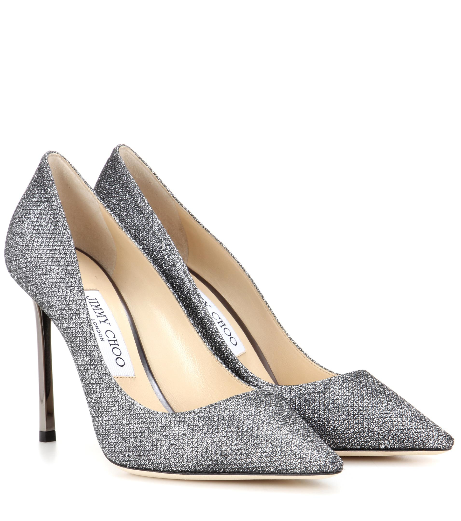 a02d23248b37 Jimmy Choo Romy 100 Glitter Pumps in Gray - Save 37.26315789473684 ...