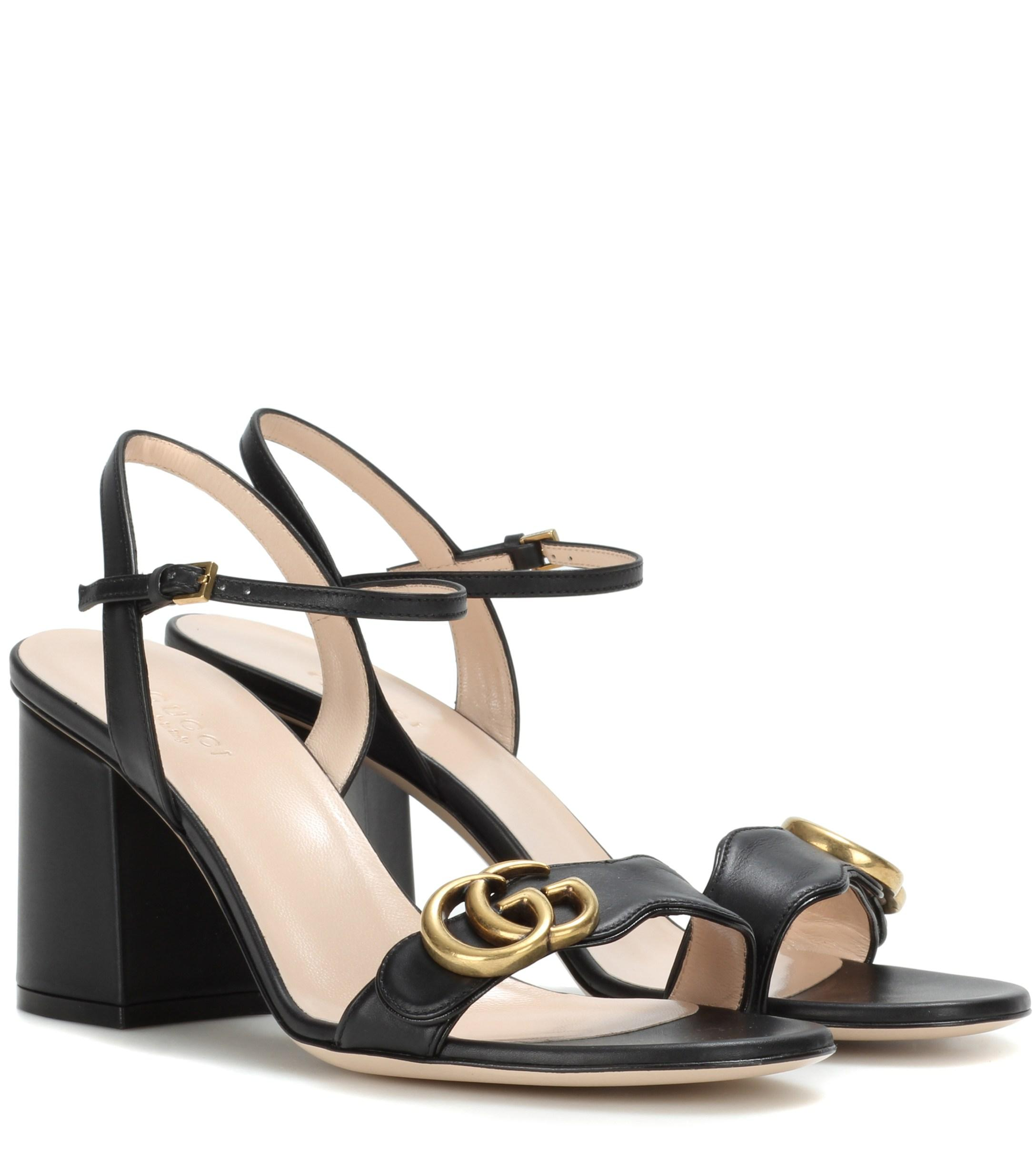 22dd183329d Gucci Leather Sandals in Black - Lyst