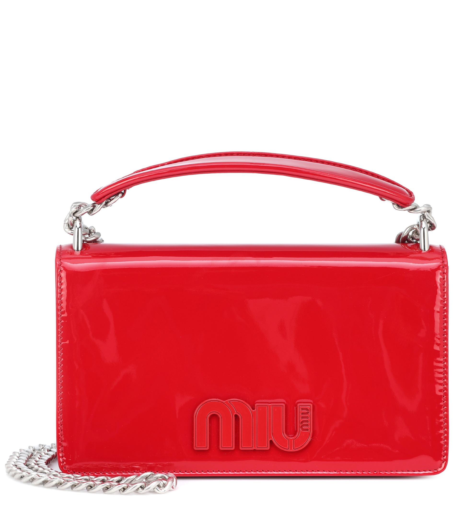Miu Miu Patent Leather Shoulder Bag in Red - Lyst 916d097db4db3
