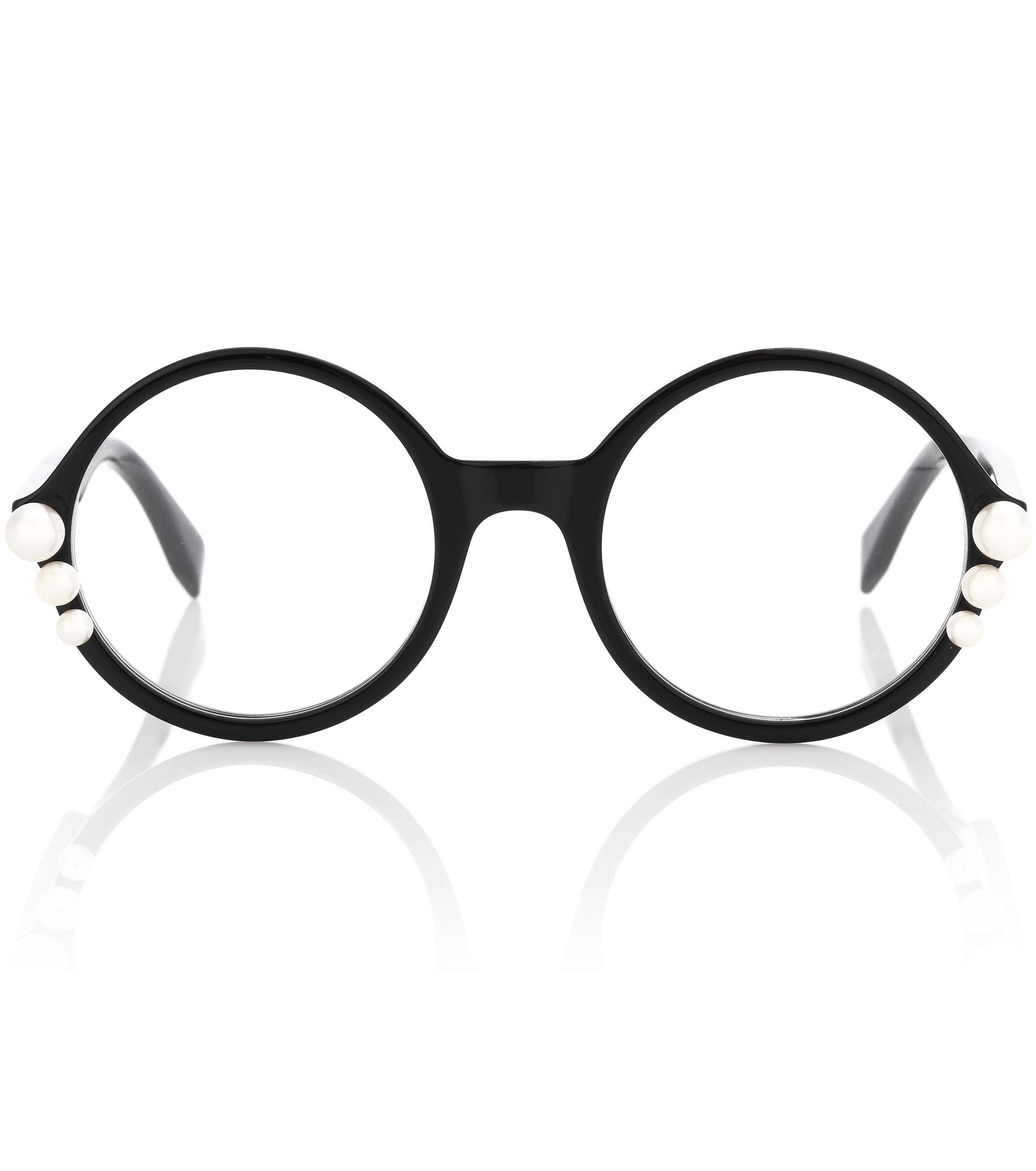 1b77a214a9ce5 Fendi Ribbons And Pearls Round Glasses in Black - Lyst