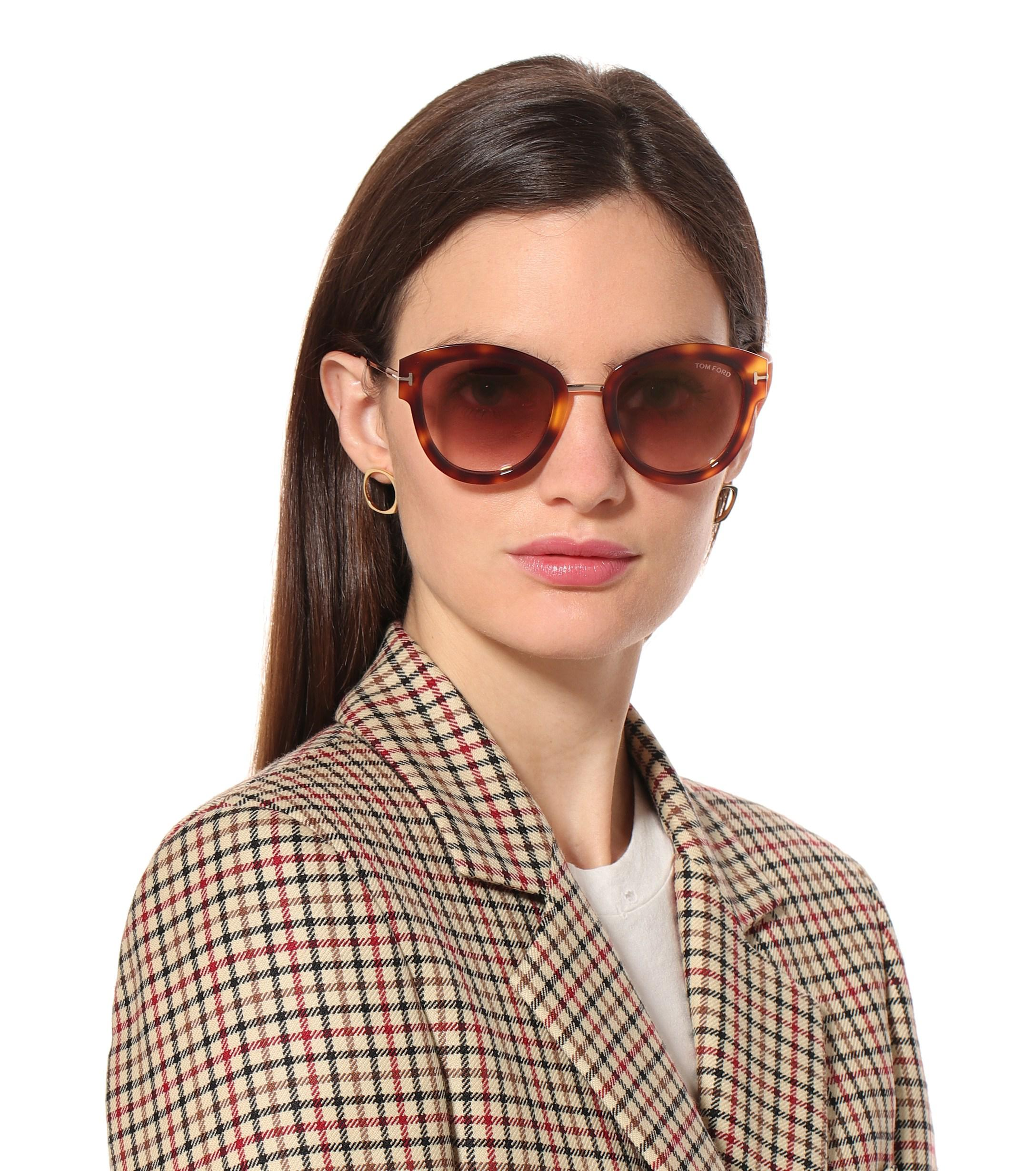e0e7ccfe220 Tom Ford Mia Round Sunglasses in Brown - Lyst