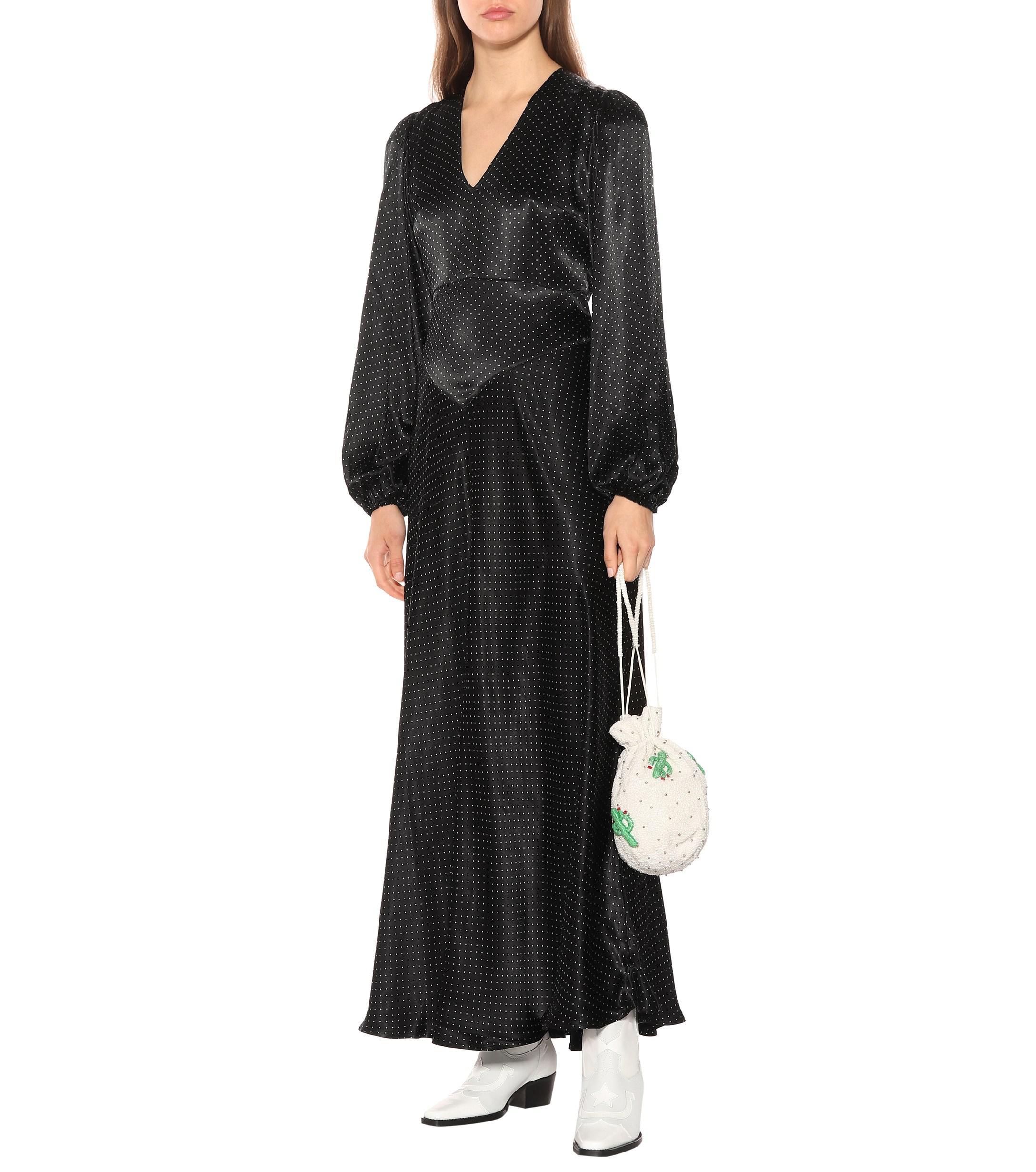58bff2ddce4 Ganni Cameron Polka Dot Maxi Dress in Black - Save 1.470588235294116 ...