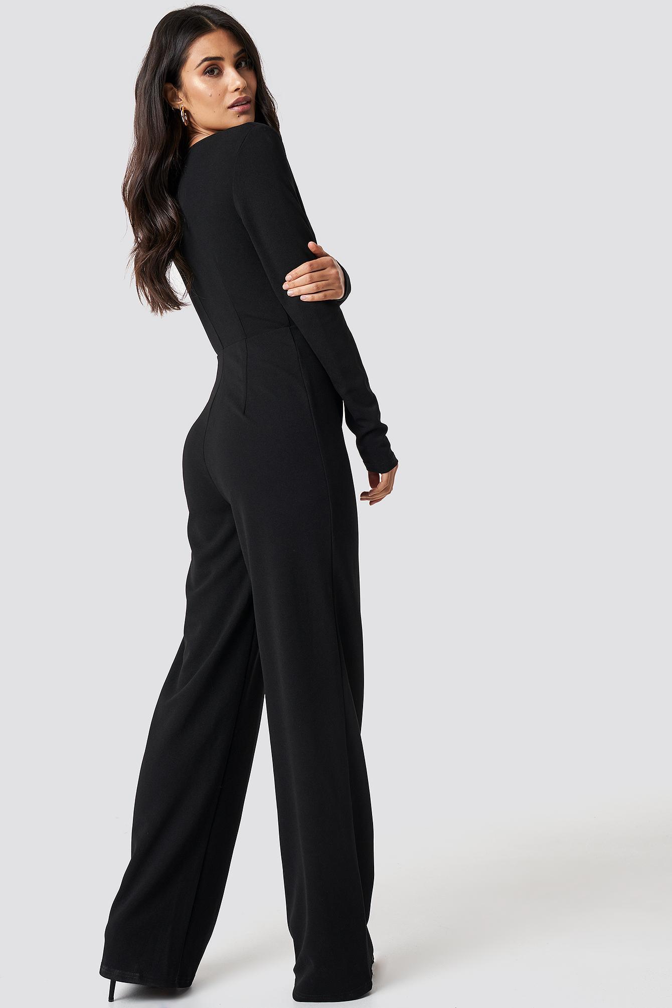b9788e495193 Lyst - NA-KD Long Sleeve Wrap Front Jumpsuit Black in Black