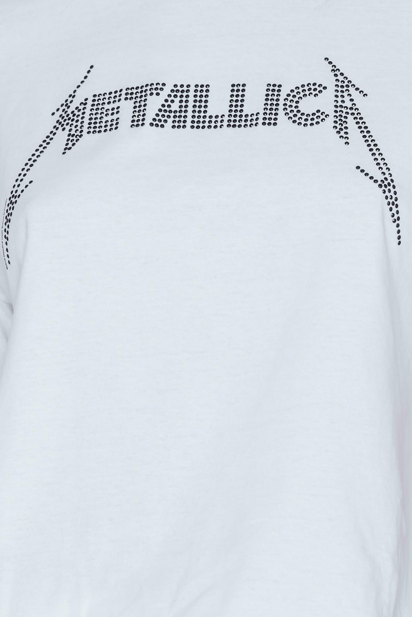 eecc13a8af0a2 Amplified Metallica Logo Diamante T-shirt in White - Lyst